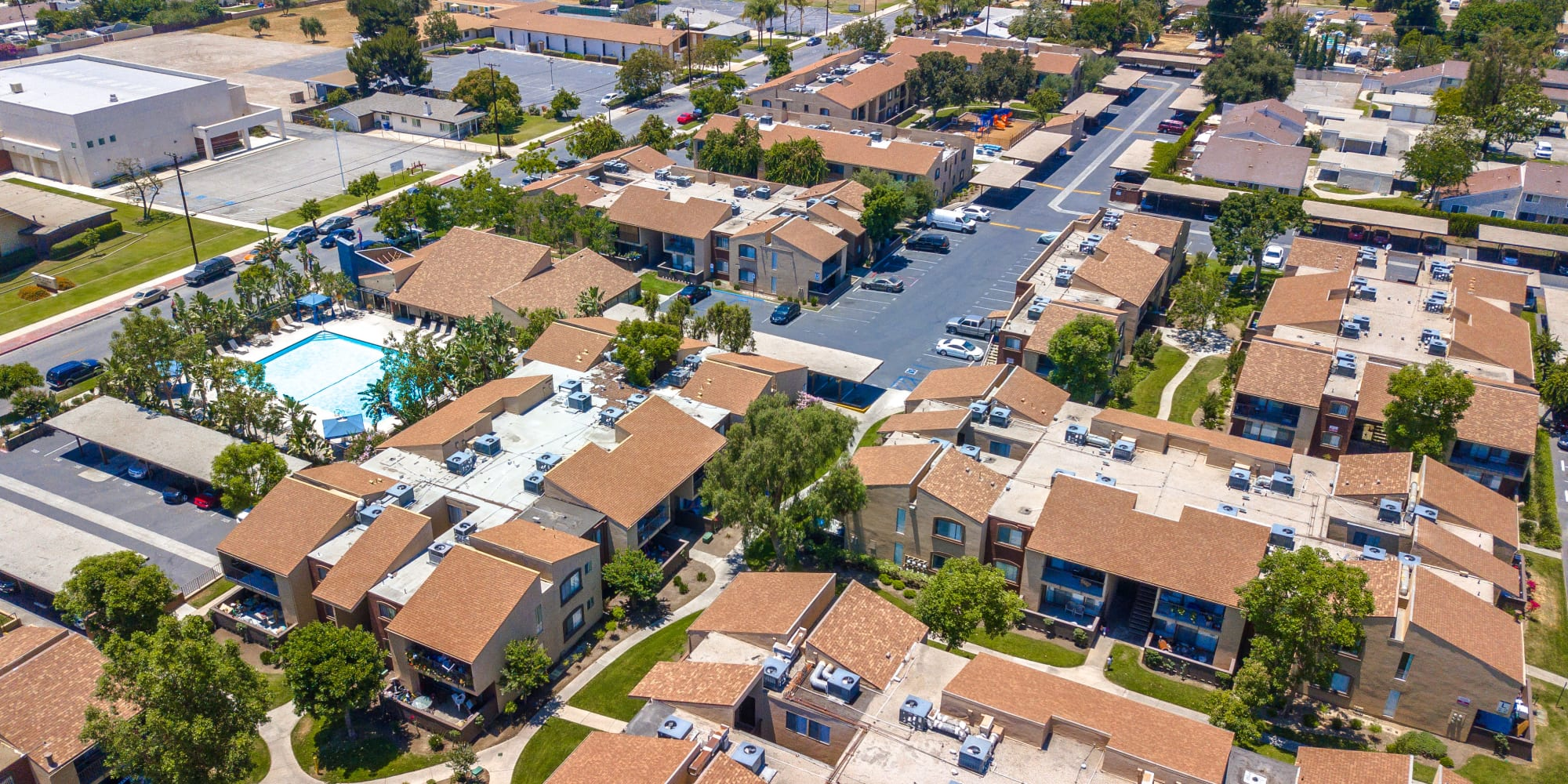 Aerial view of West Fifth Apartments in Ontario, California