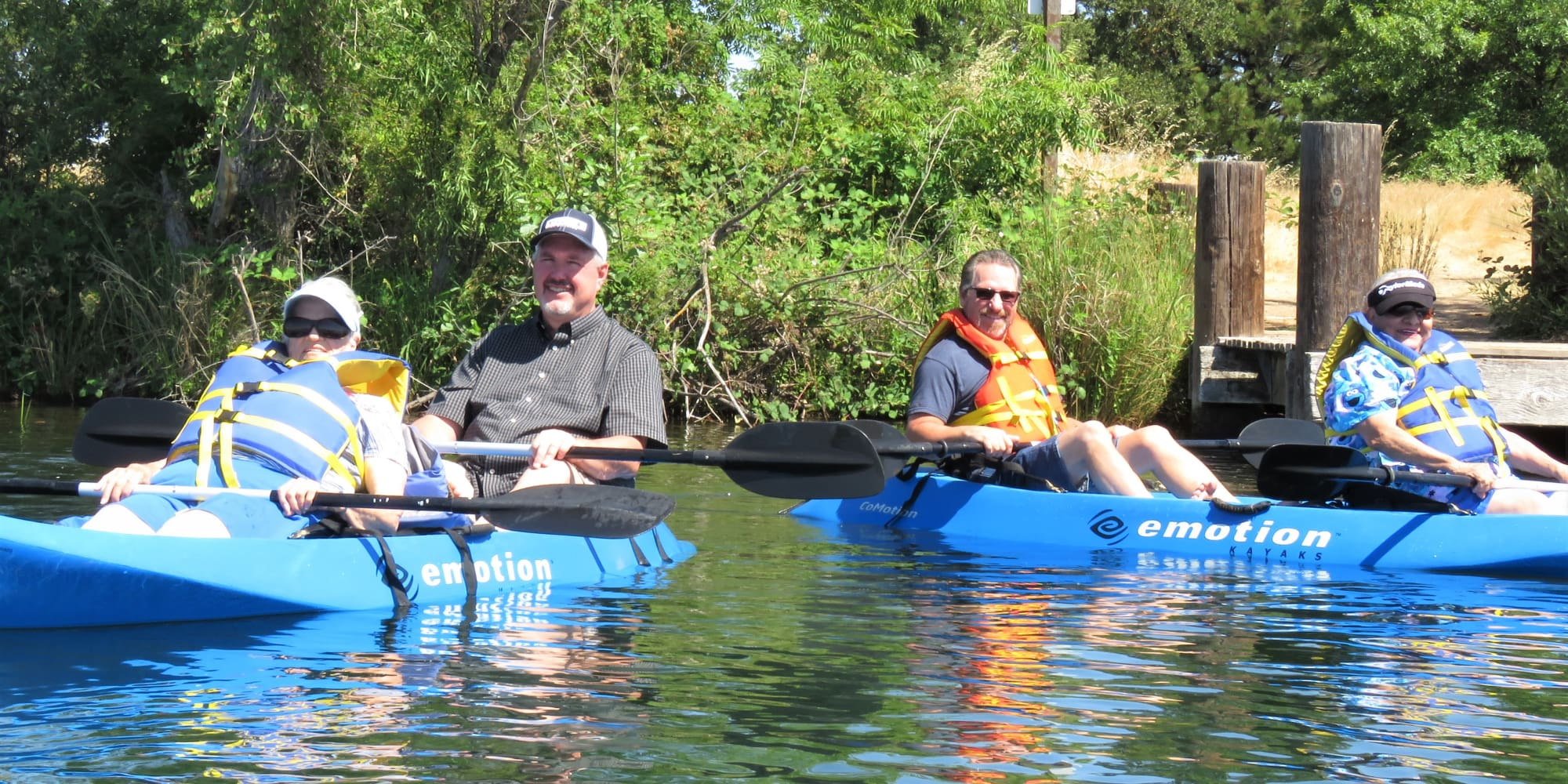 Residents from Sanford Estates Gracious Retirement Living in Roswell, Georgia kayaking