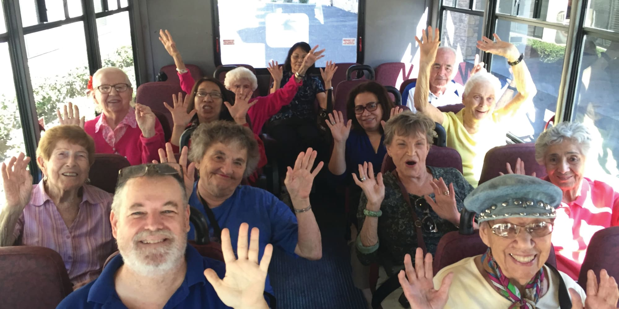 Residents on the community bus at Scholl Canyon Estates in Glendale, California