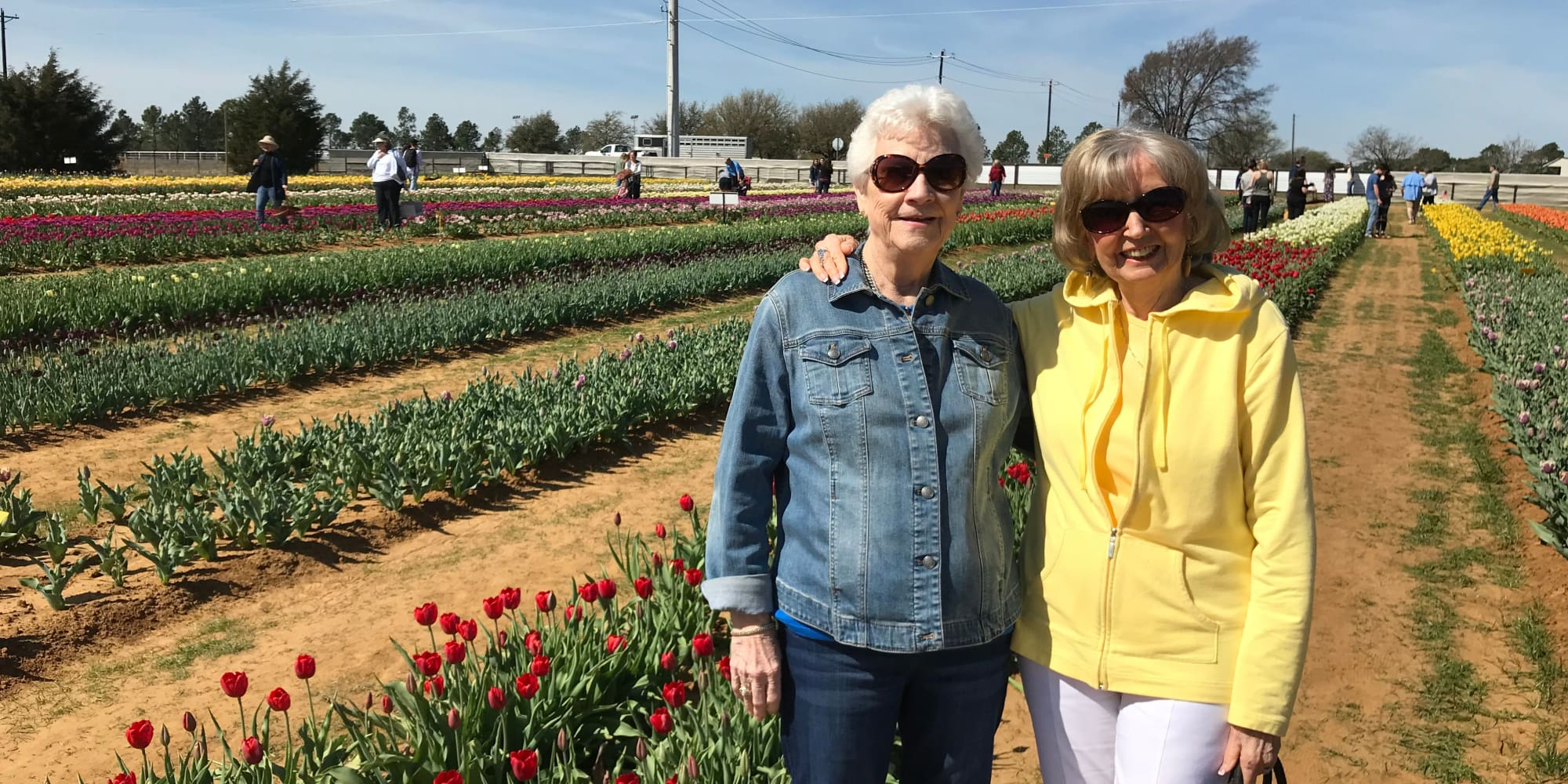 Residents from Southern Pines Gracious Retirement Living in Southern Pines, North Carolina in a tulip field