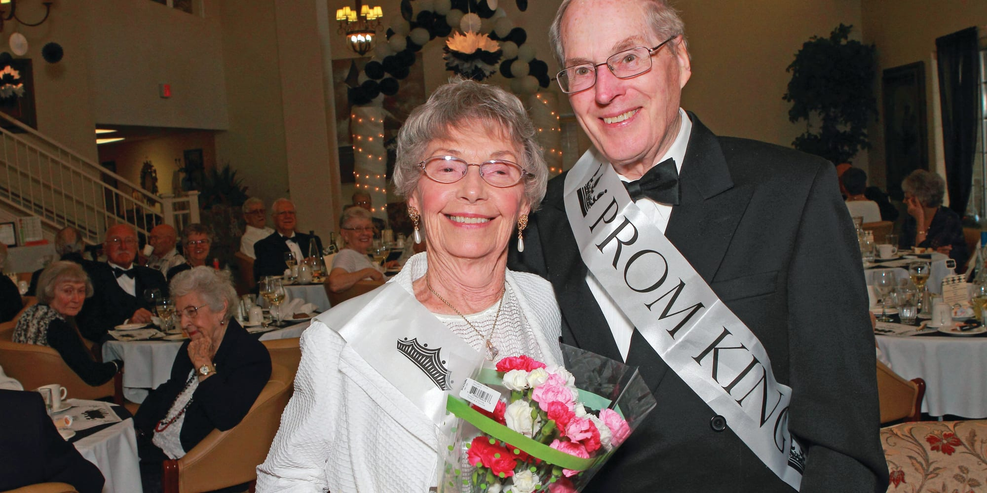 Prom king and queen at The Highlands Gracious Retirement Living in Westborough, Massachusetts