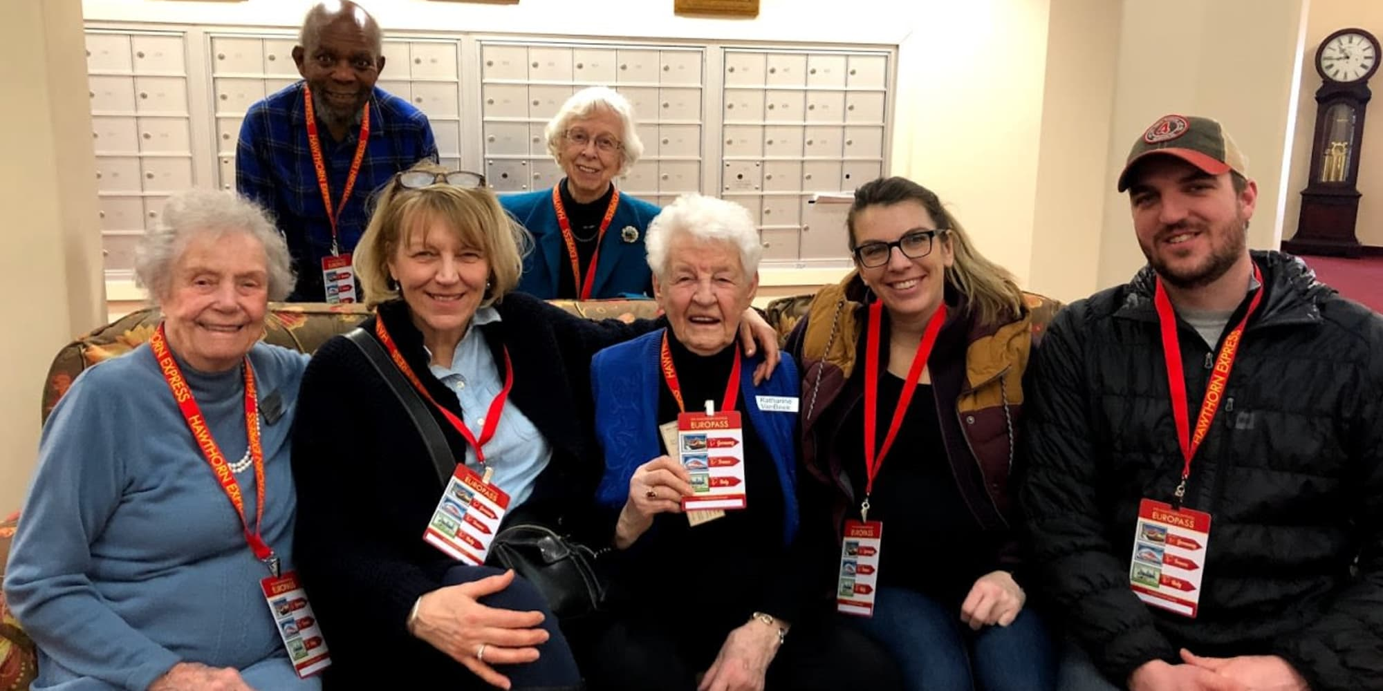 Residents with passes around their necks at Edgewood Point Assisted Living in Beaverton, Oregon