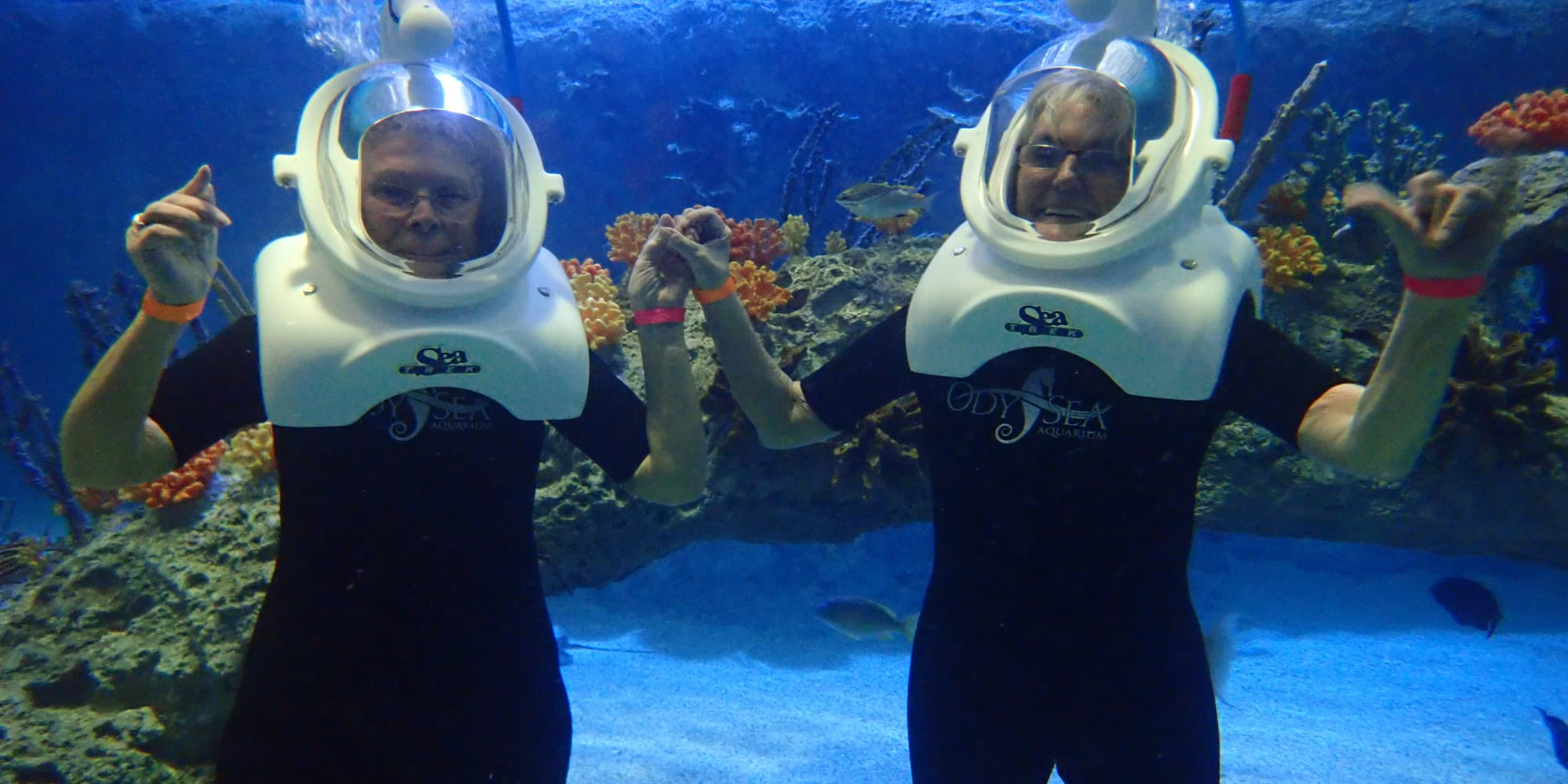 Two residents from Edgewood Point Assisted Living in Beaverton, Oregon scuba diving