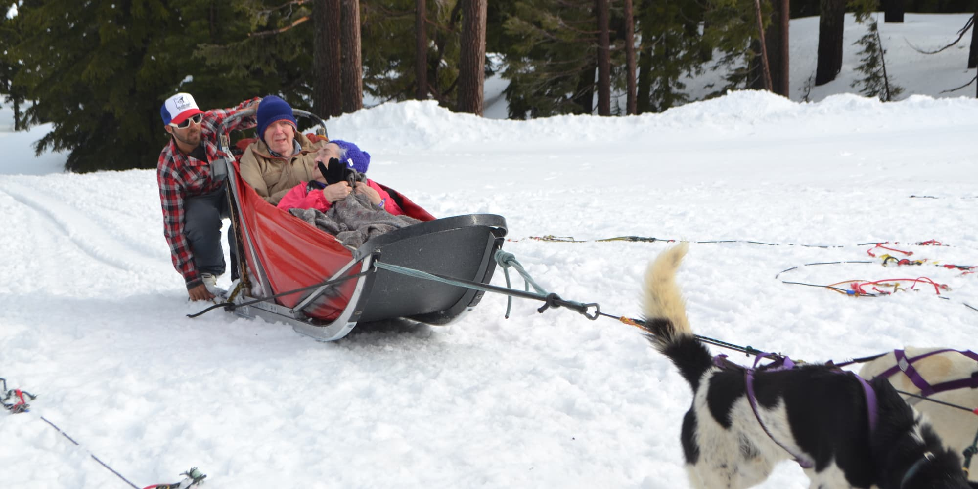 Residents of Somerset Assisted Living in Gladstone, Oregon sledding