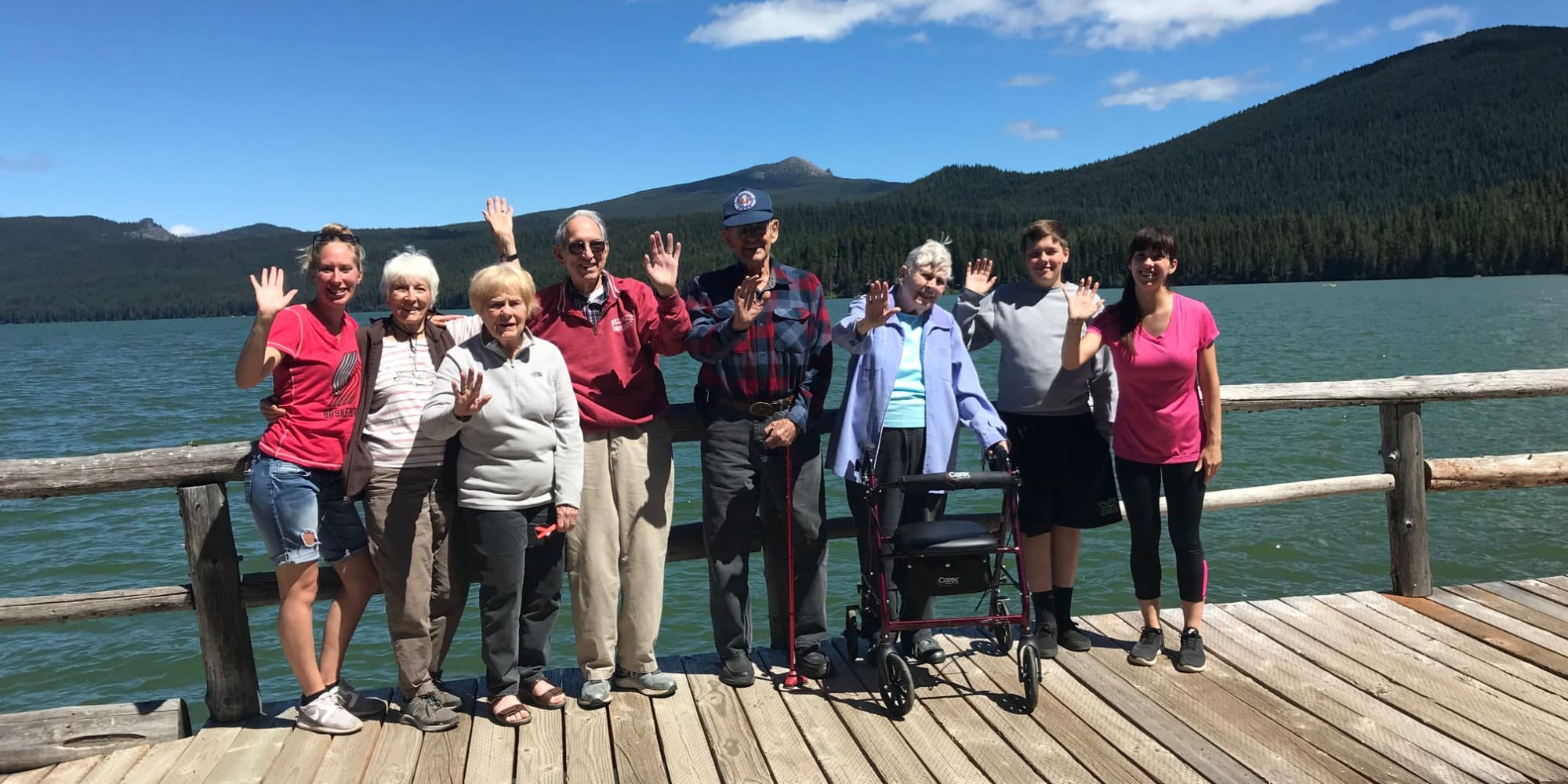 Residents from Stoneybrook Assisted Living in Corvallis, Oregon by the waterfront