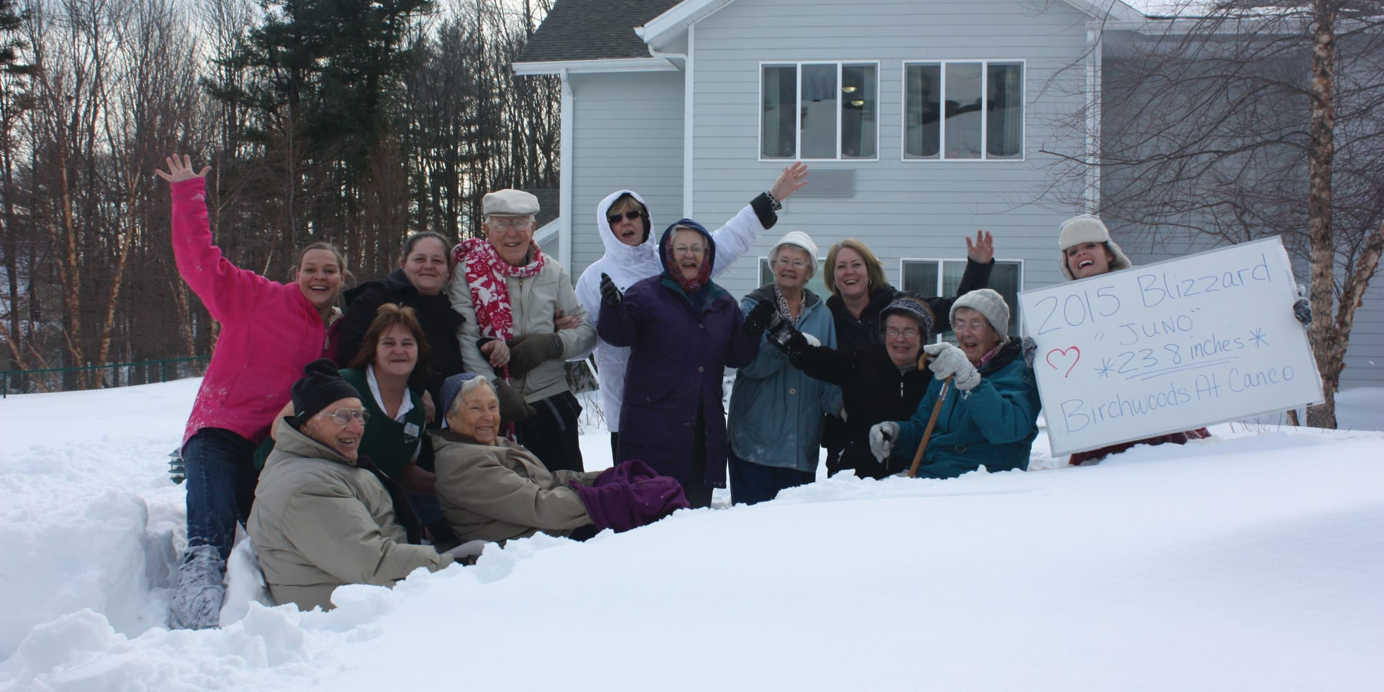 Residents in the snow at Birchwoods at Canco Assisted Living in Portland, Maine