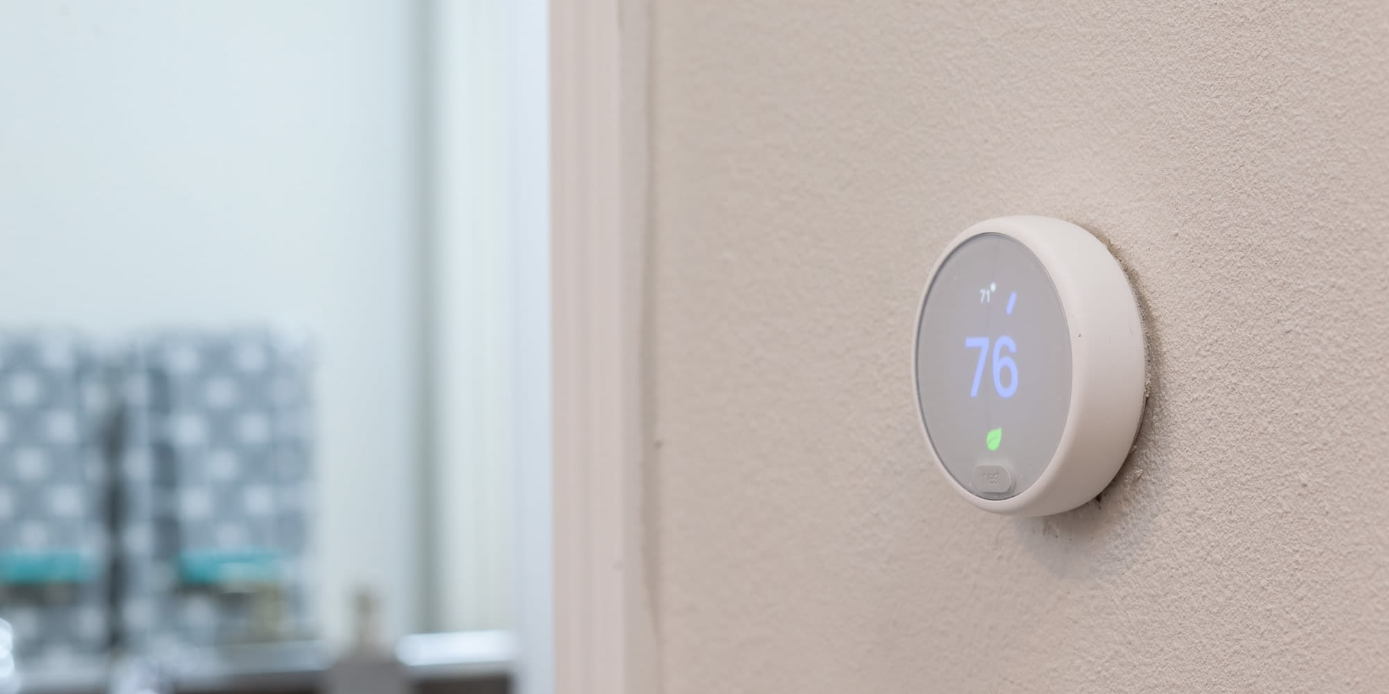Nest thermostat in an apartment home at West Fifth Apartments in Ontario, California