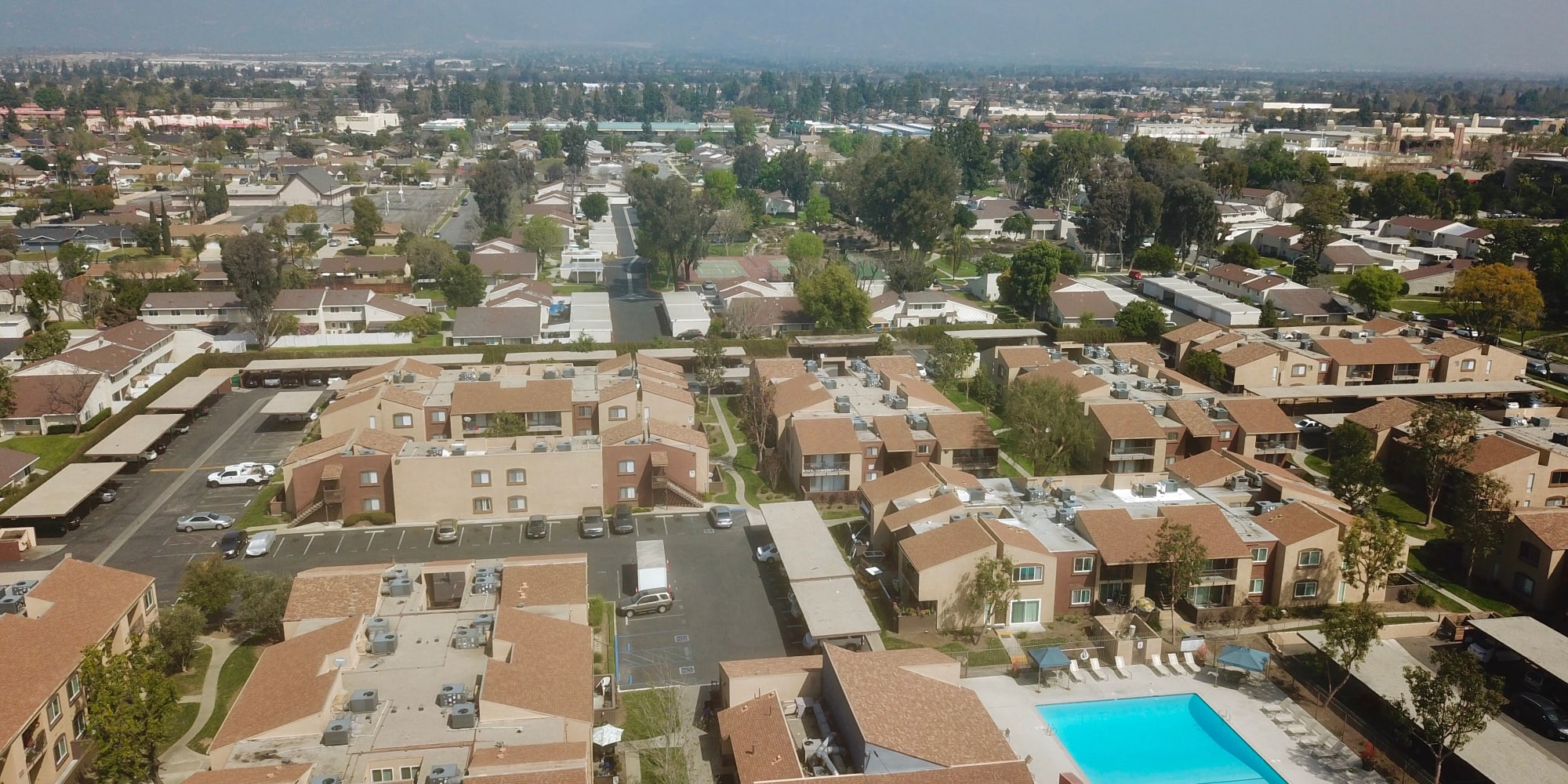 Aerial view of West Fifth Apartments's surrounding neighborhood in Ontario, California