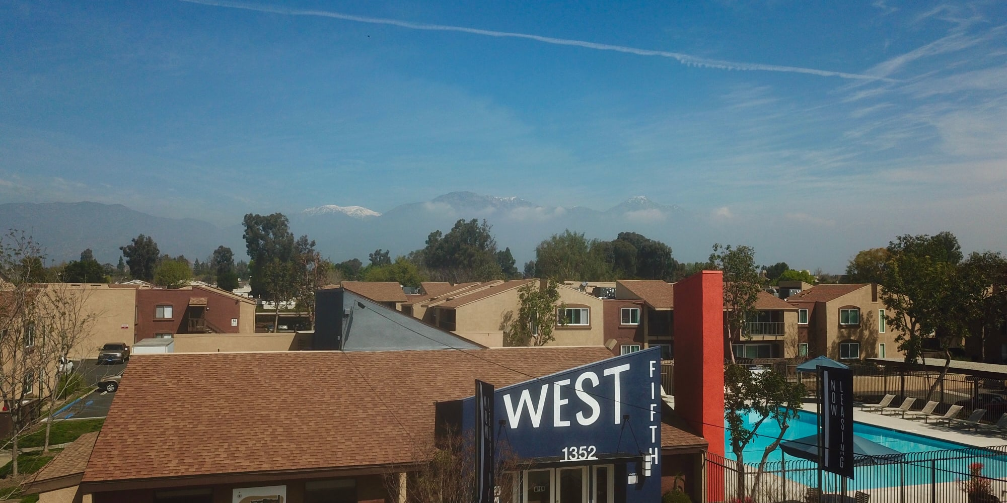 View overlooking the community at West Fifth Apartments in Ontario, California