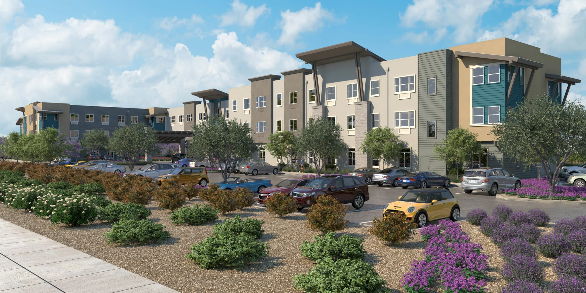 Exterior view of a senior living location managed by WellQuest of Elk Grove, in Elk Grove, California.