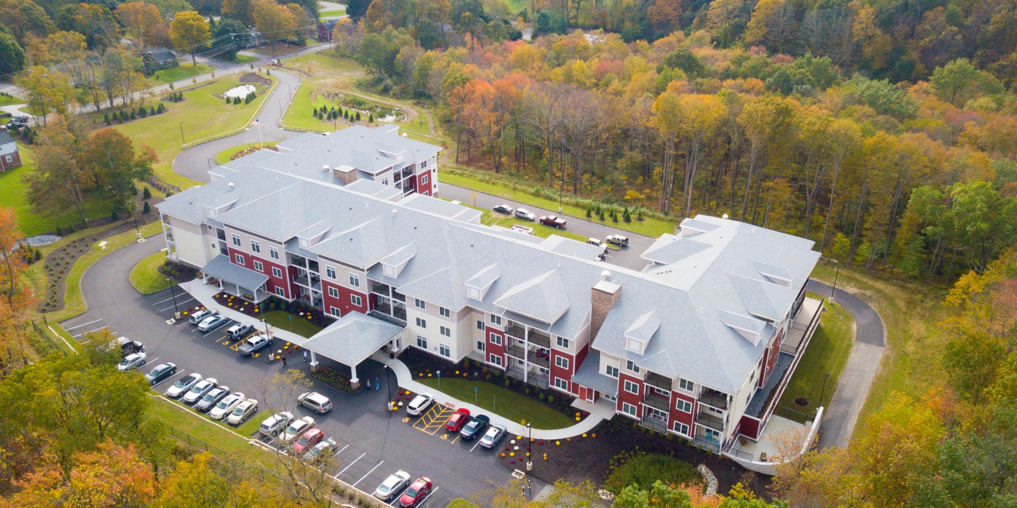 An aerial view of the Keystone Place at Newbury Brook in Torrington, Connecticut community