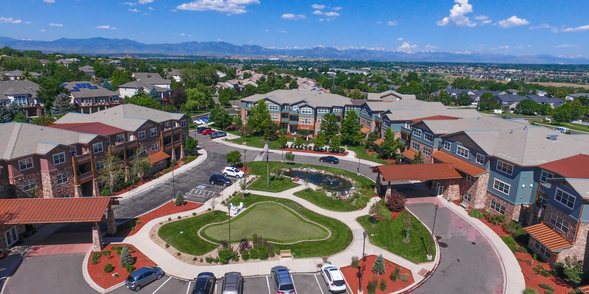 Aerial view of Keystone Place at Legacy Ridge in Westminster, Colorado.