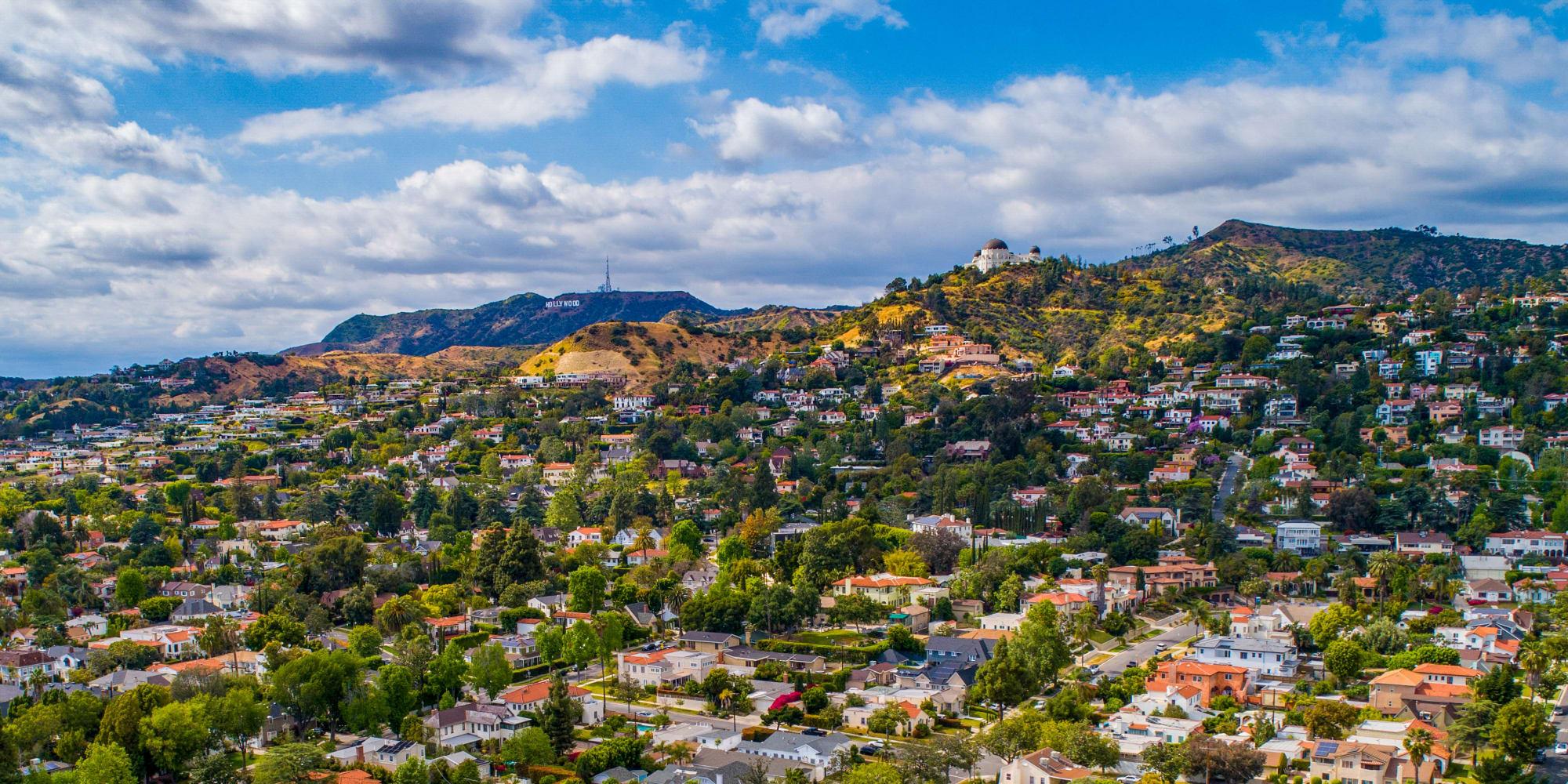 Beautiful aerial view of the greater neighborhood around Vue Los Feliz in Los Angeles, California