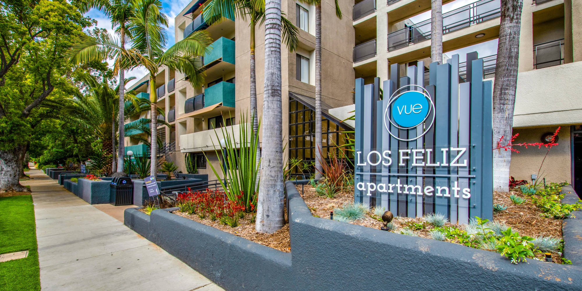 Our monument sign welcoming residents and guests to Vue Los Feliz in Los Angeles, California