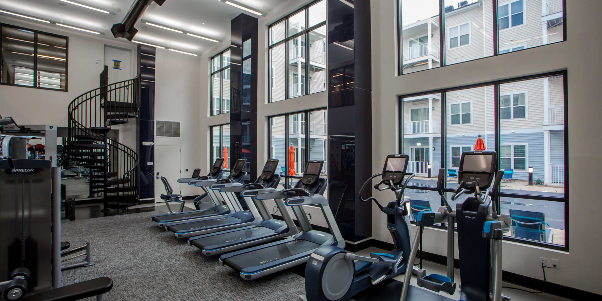 Fitness center at The Mark Parsippany in Parsippany, New Jersey.