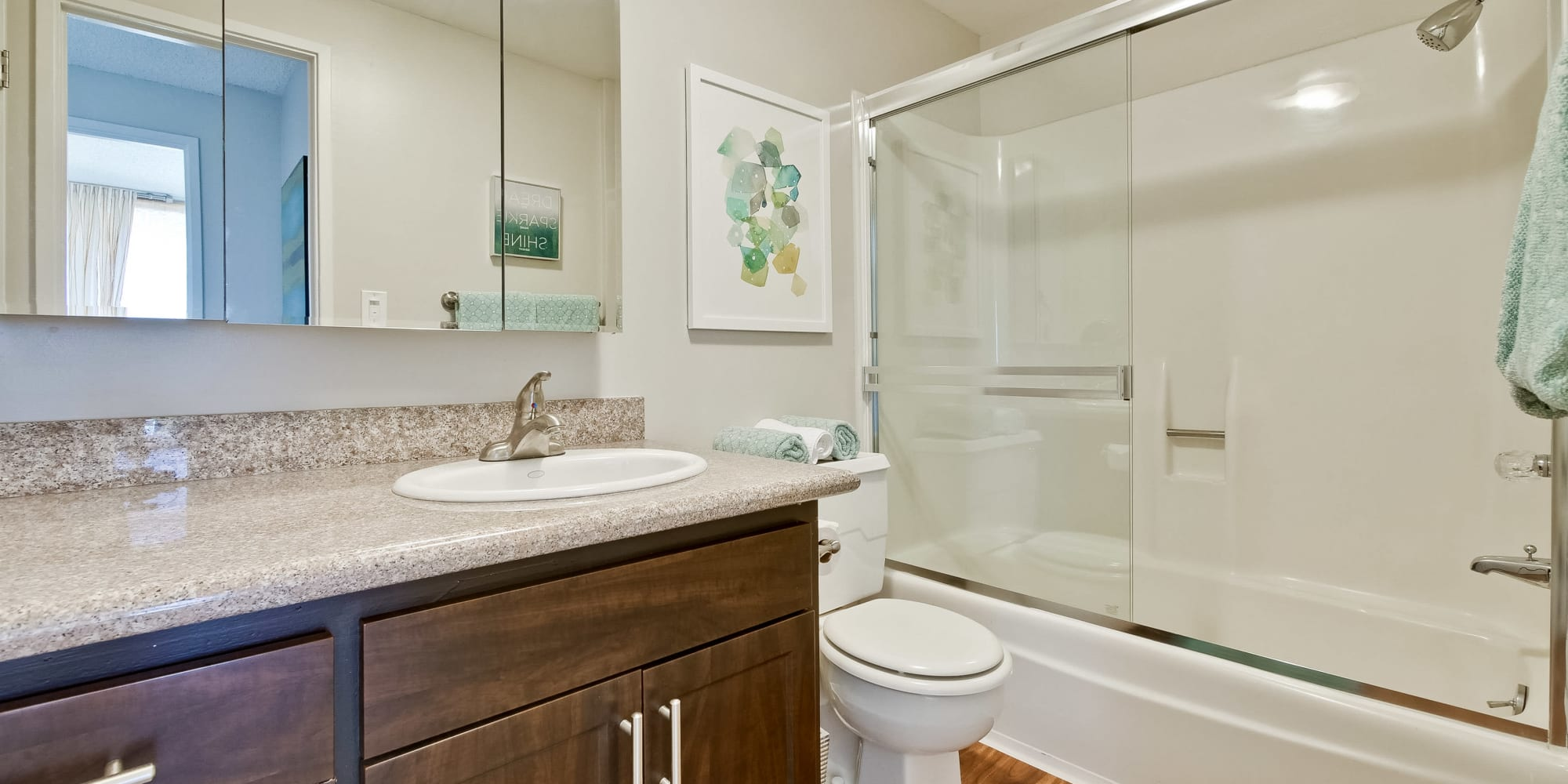 Luxury bathrooms with shower and bathtub at The Marc, Palo Alto in Palo Alto, California
