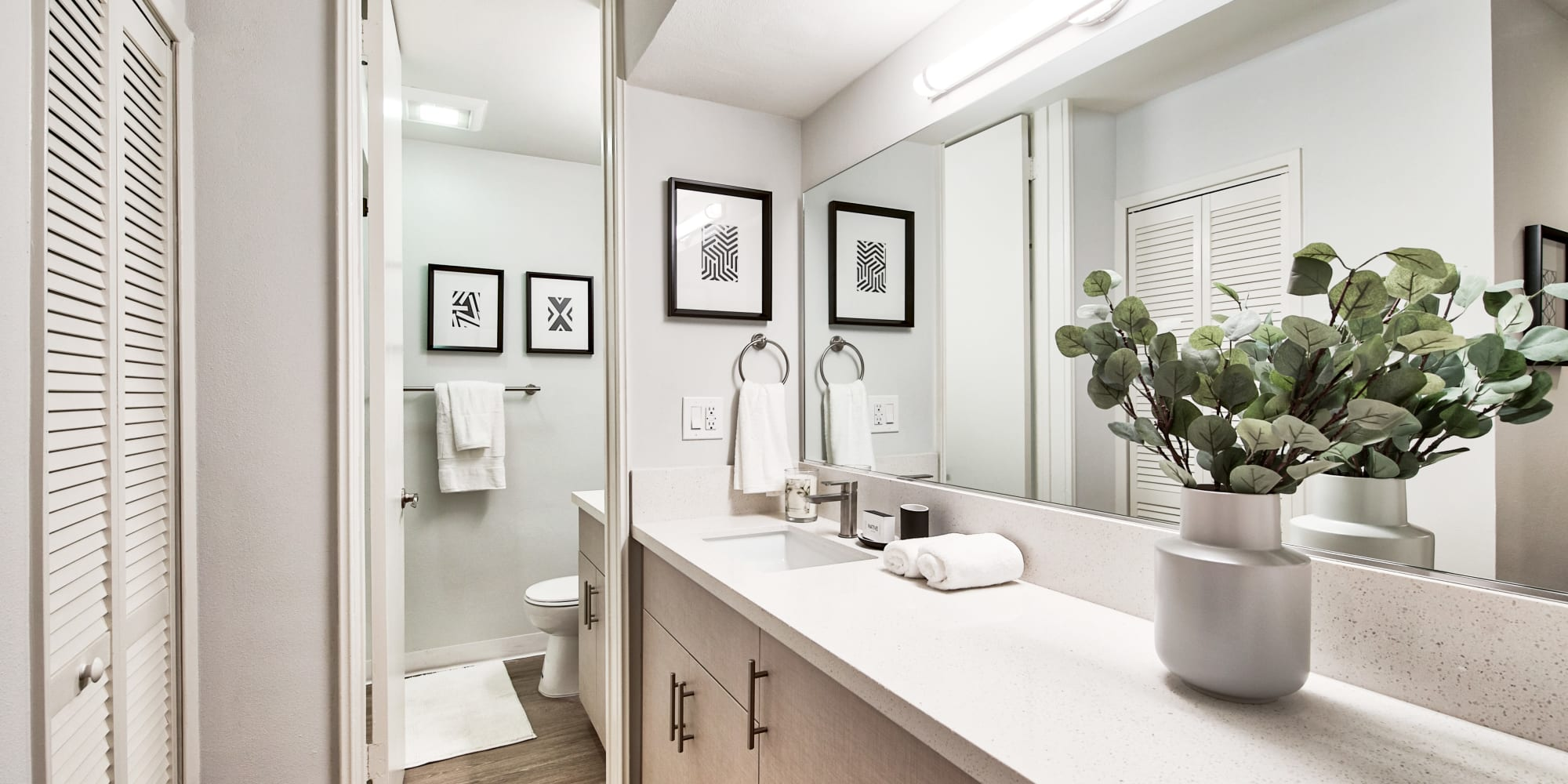 Large main bathroom with a vanity mirror at The Meadows in Culver City, California