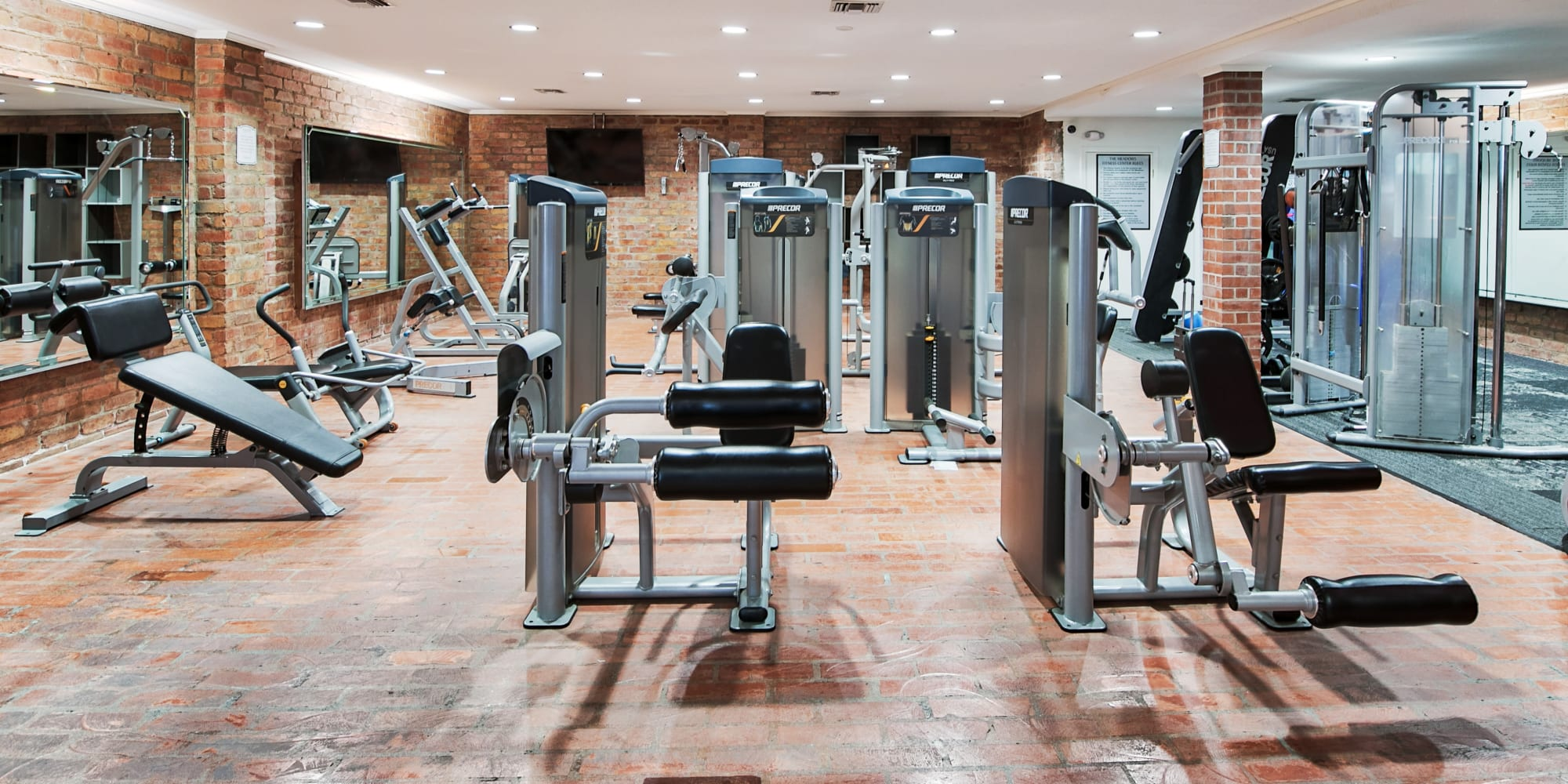 Onsite fitness center with a wide variety of exercise equipment at The Meadows in Culver City, California