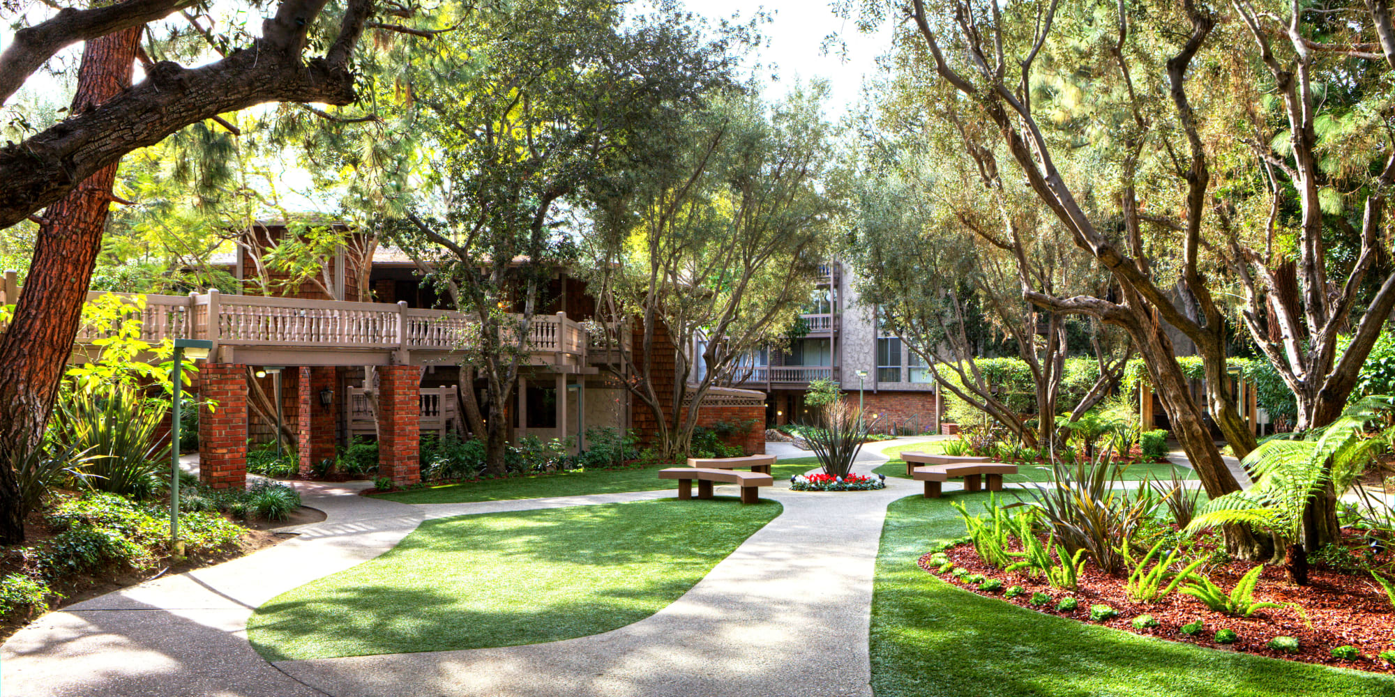 Sun filtering through mature trees among professionally managed landscaping at The Meadows in Culver City, California