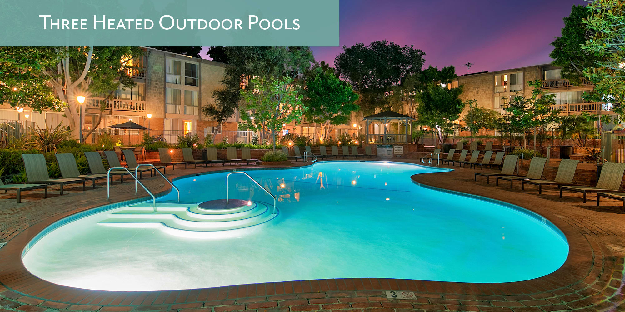 Three heated outdoor swimming pools at The Meadows in Culver City, California