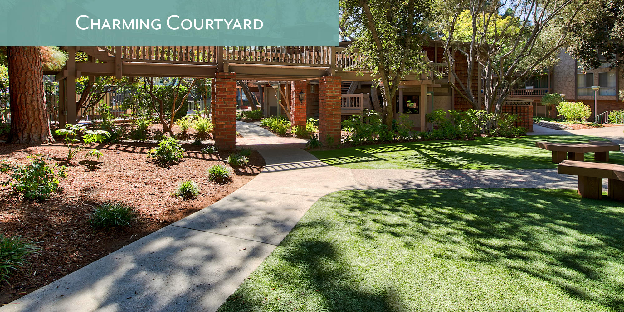 Charming courtyards at The Meadows in Culver City, California