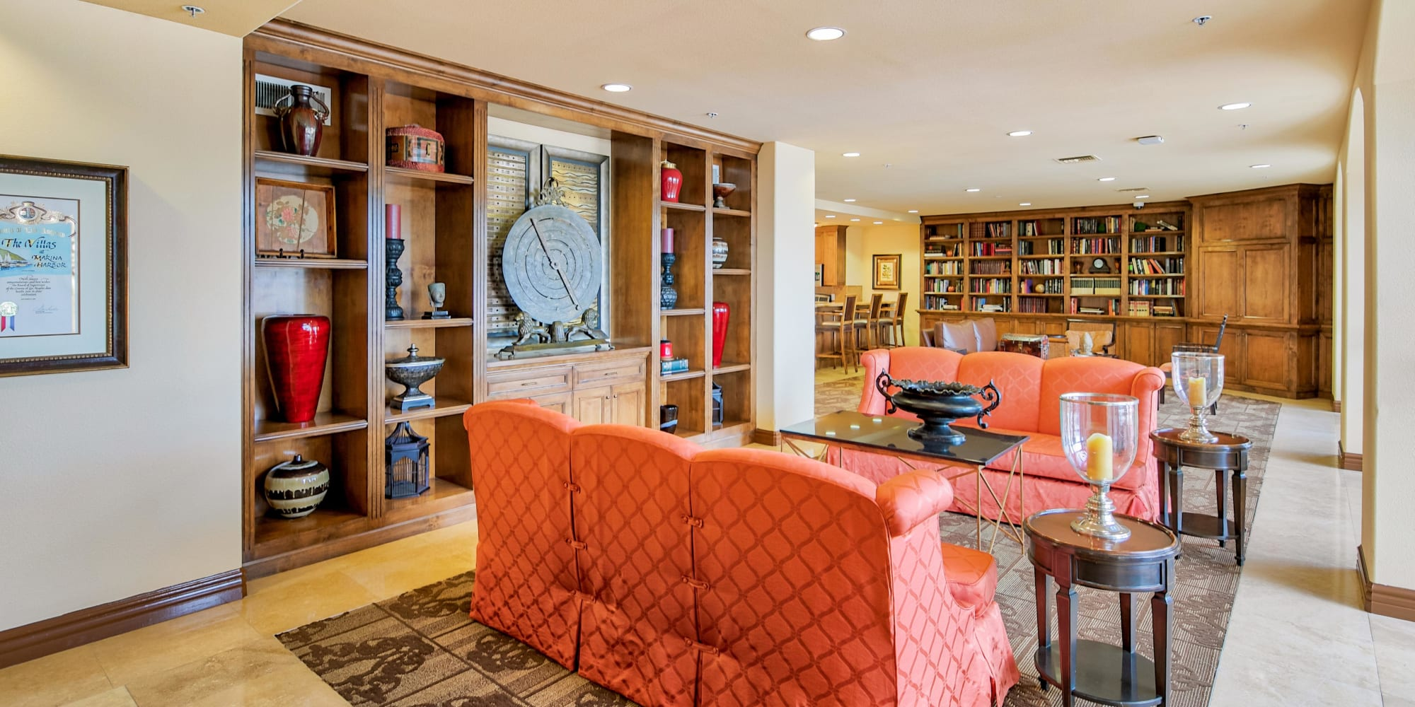 Well-furnished resident clubhouse at The Villa at Marina Harbor in Marina del Rey, California