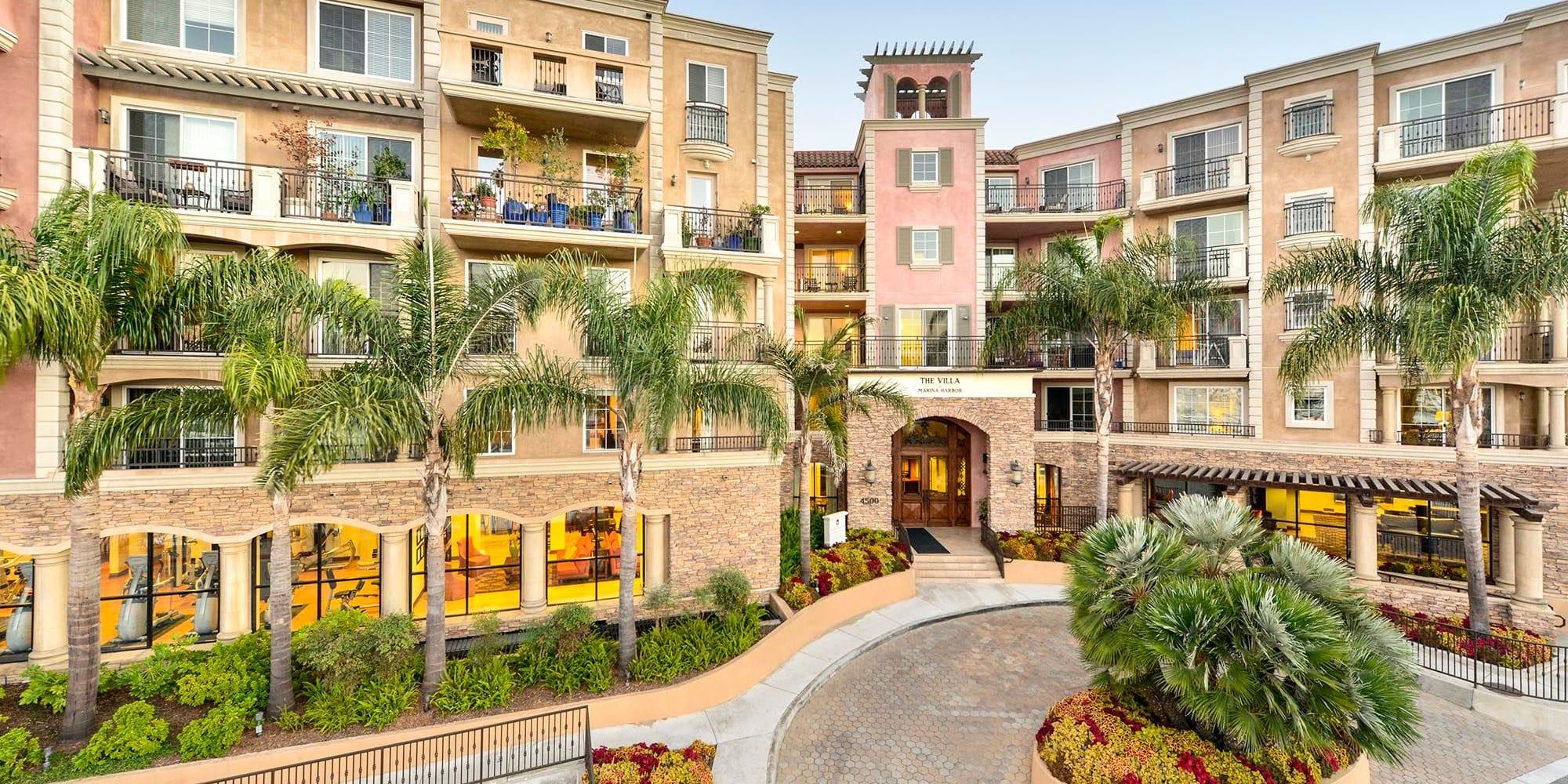 View of our villa-style luxury community at The Villa at Marina Harbor in Marina del Rey, California