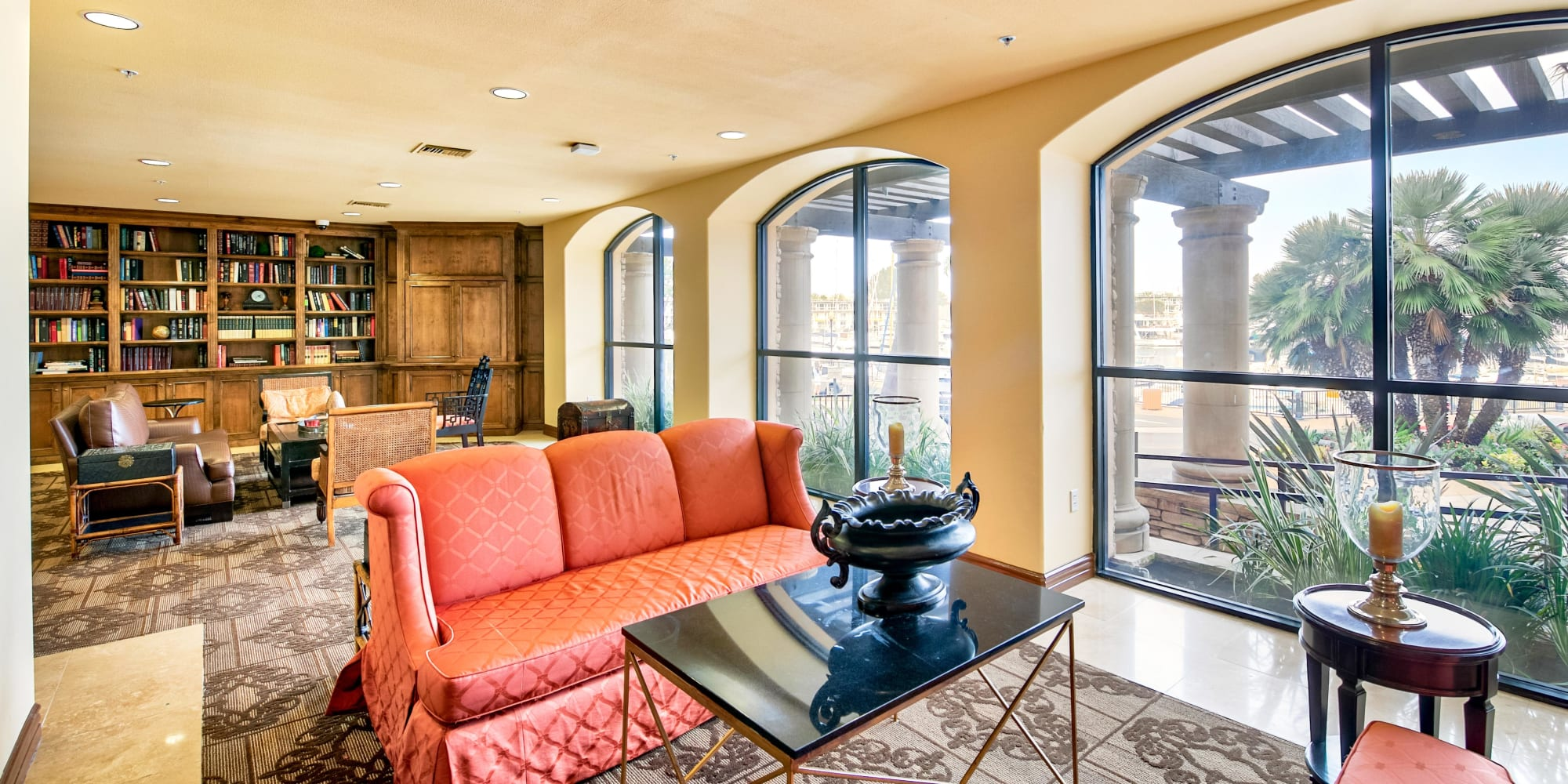 Clubhouse lounge area at The Villa at Marina Harbor in Marina del Rey, California