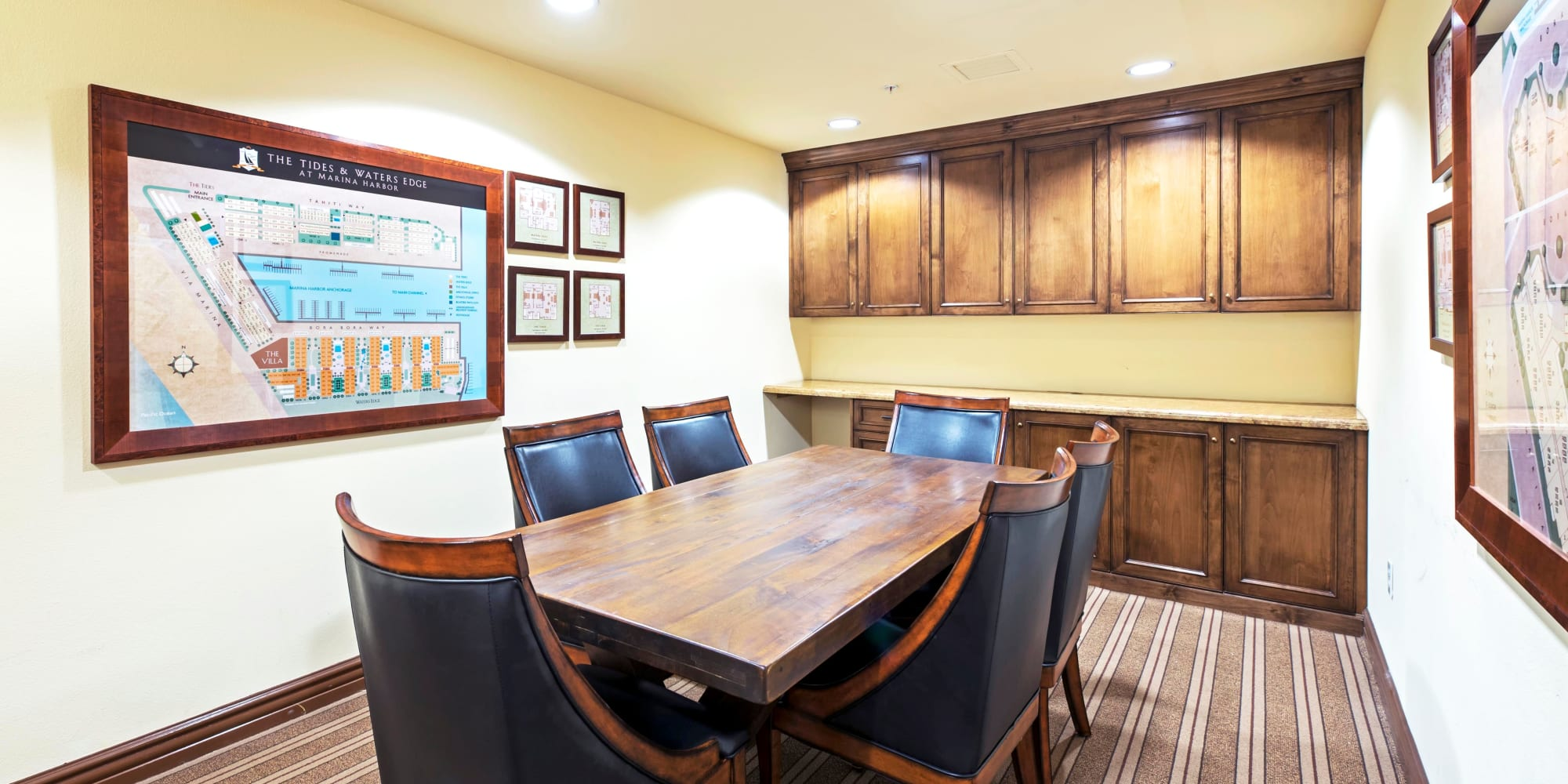 Meeting room in the business center at The Villa at Marina Harbor in Marina del Rey, California