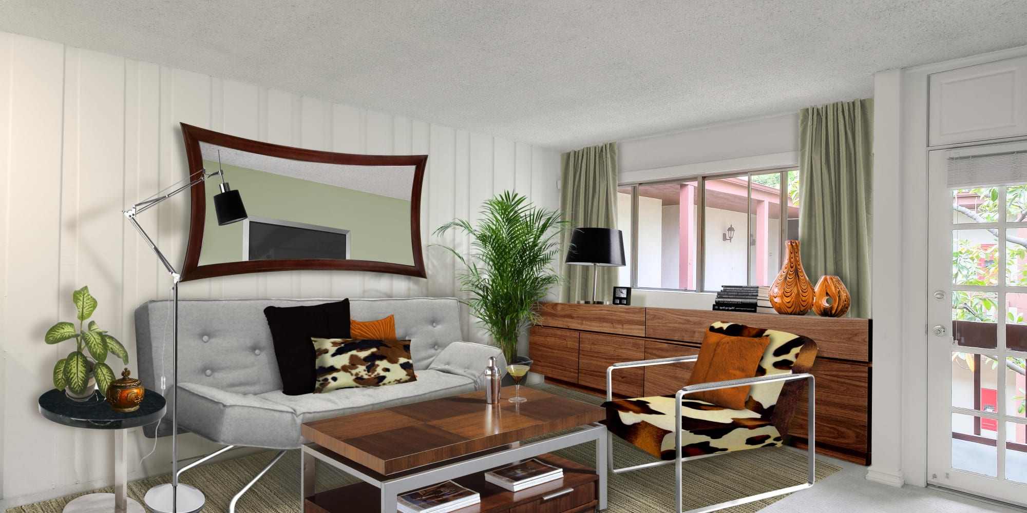 Retro furnishings and draped windows in a model home's living area at Rancho Los Feliz in Los Angeles, California