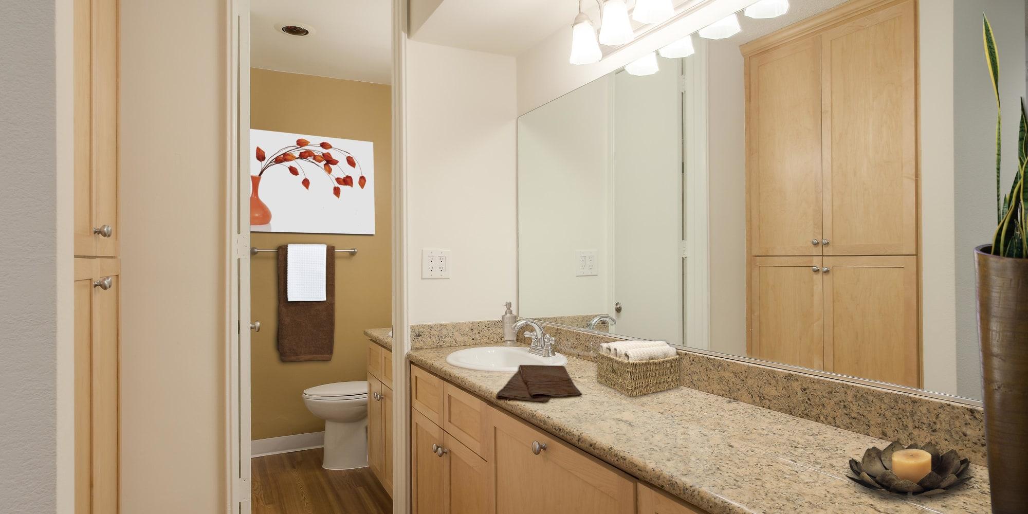 Spacious primary bathroom in a model home at Rancho Los Feliz in Los Angeles, California