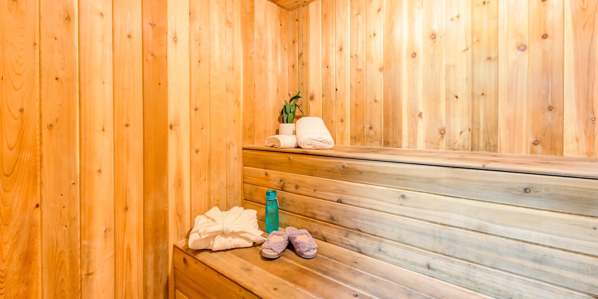 Dry sauna near the fitness center at Rancho Los Feliz in Los Angeles, California