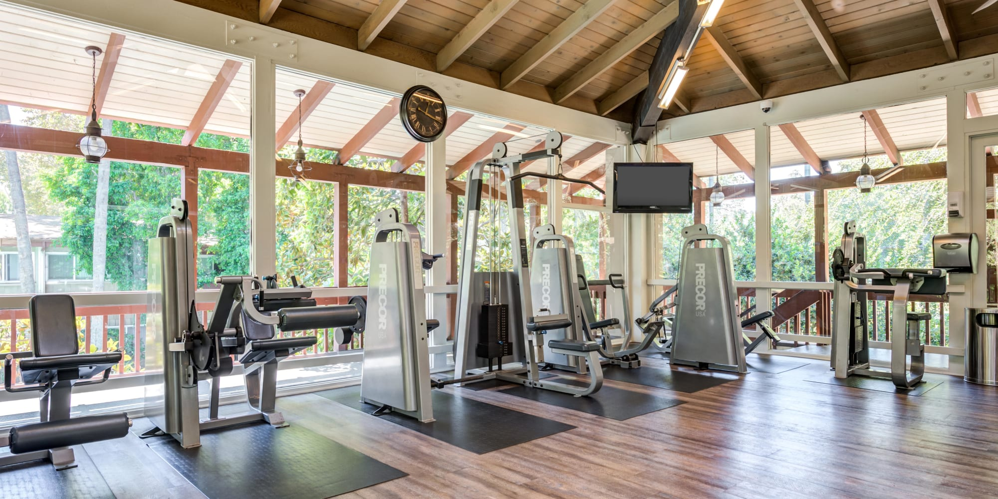 Ample cardio equipment in the fitness center at Rancho Los Feliz in Los Angeles, California