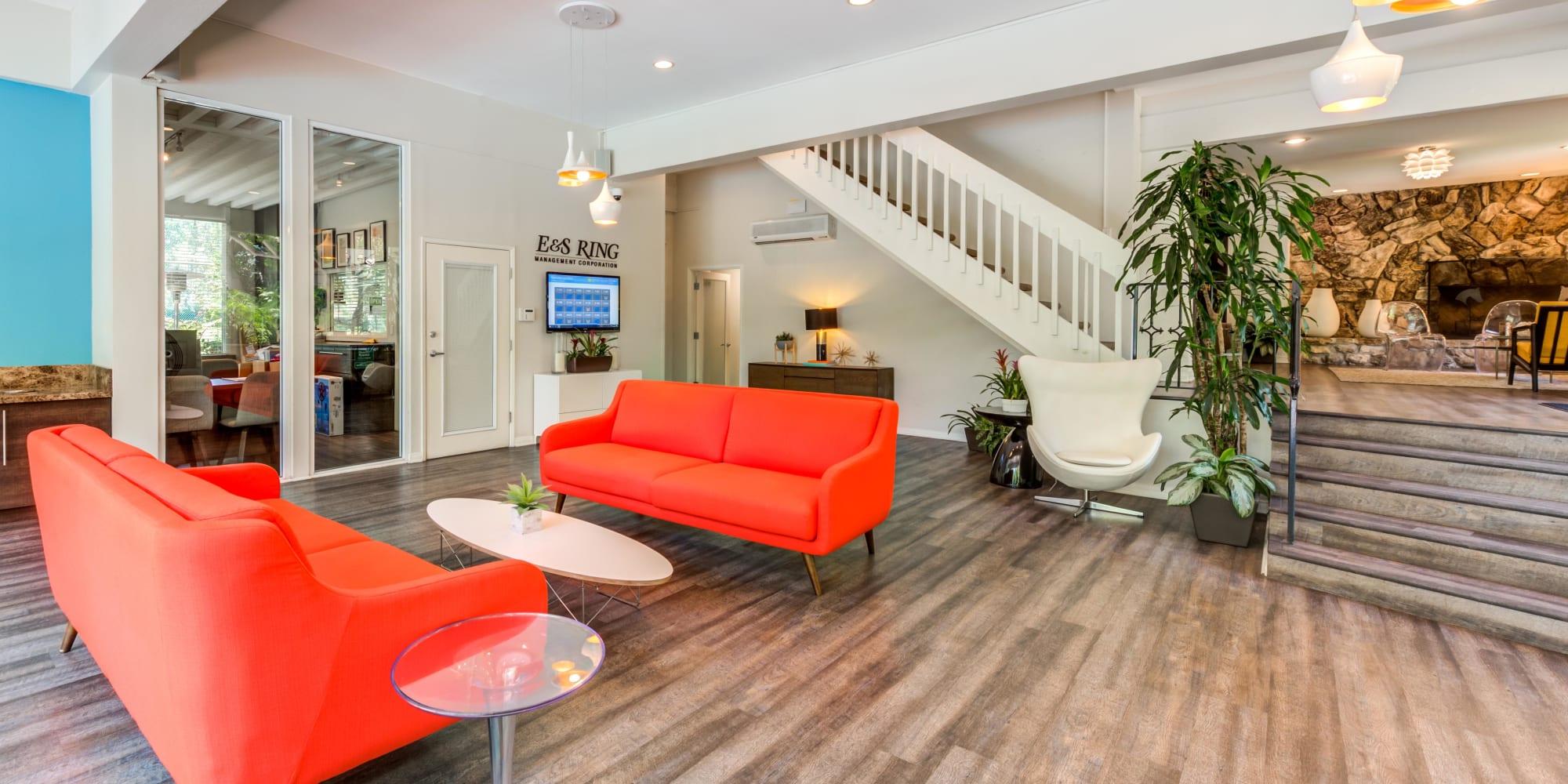 Retro-modern furnishings in the lobby at Rancho Los Feliz in Los Angeles, California