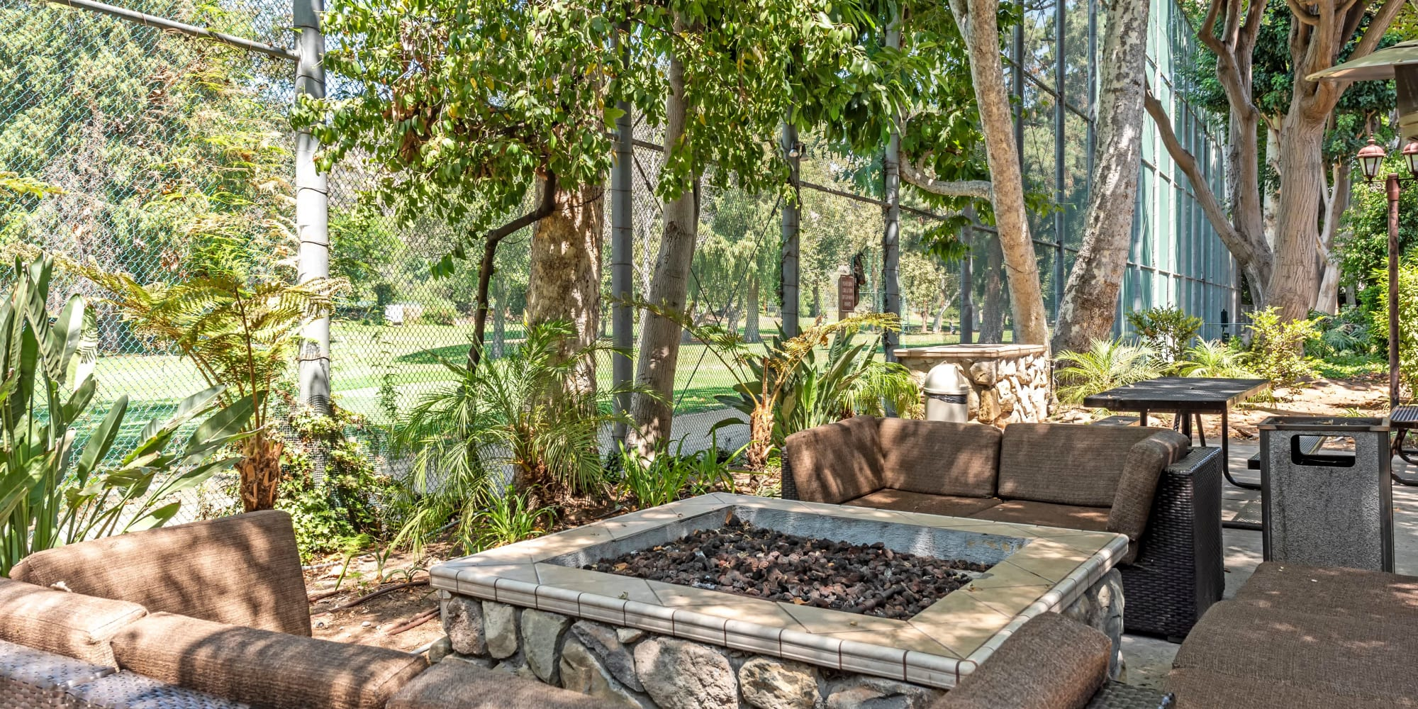 Comfortable seating around the fire pit at Rancho Los Feliz in Los Angeles, California