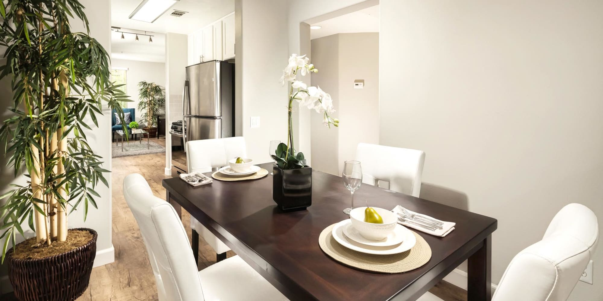 Well-furnished dining area in a model apartment at Mission Hills in Camarillo, California