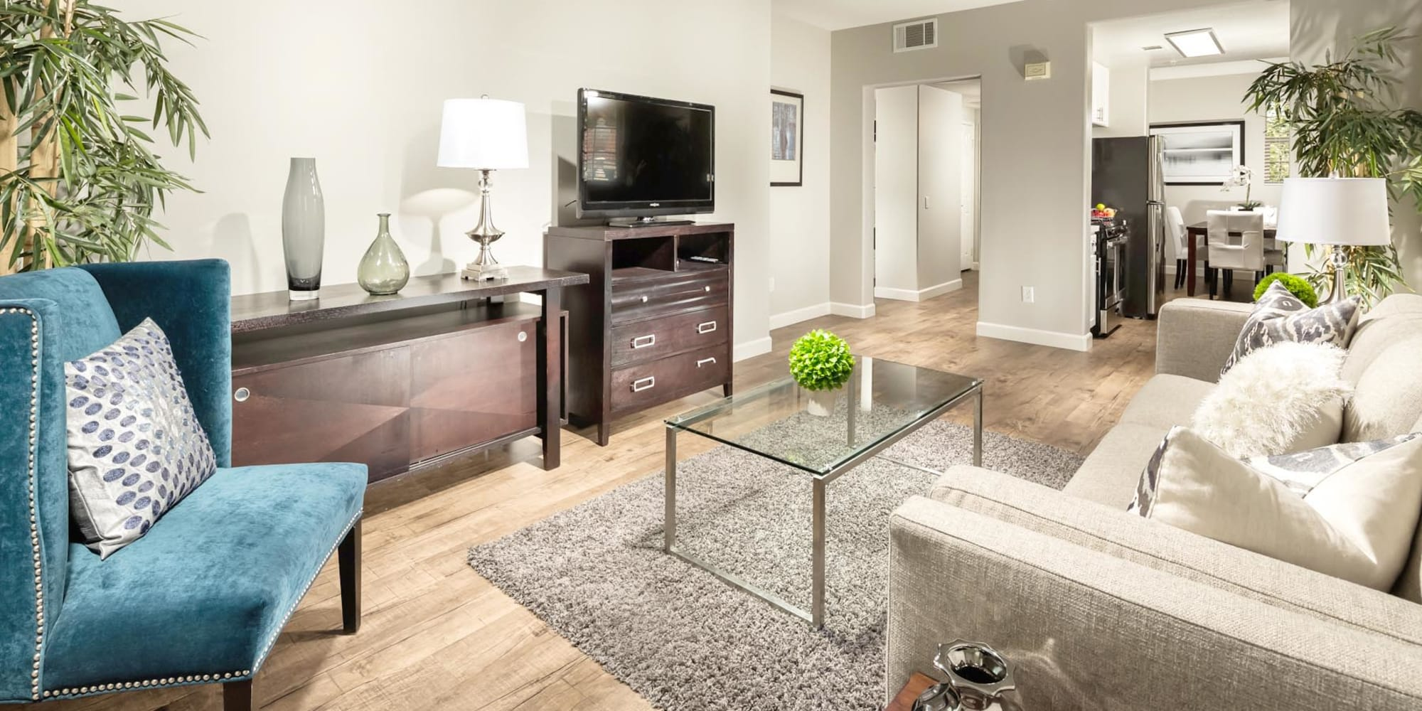 Classically furnished model home's living area at Mission Hills in Camarillo, California