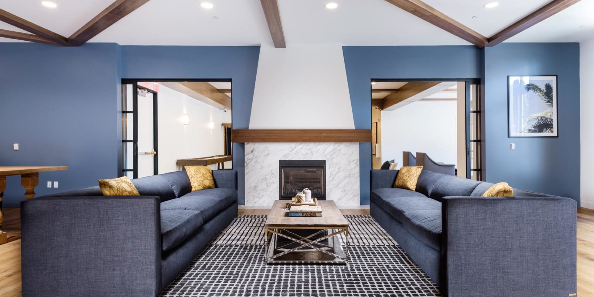 Fireplace lounge area in the clubhouse at Mission Hills in Camarillo, California