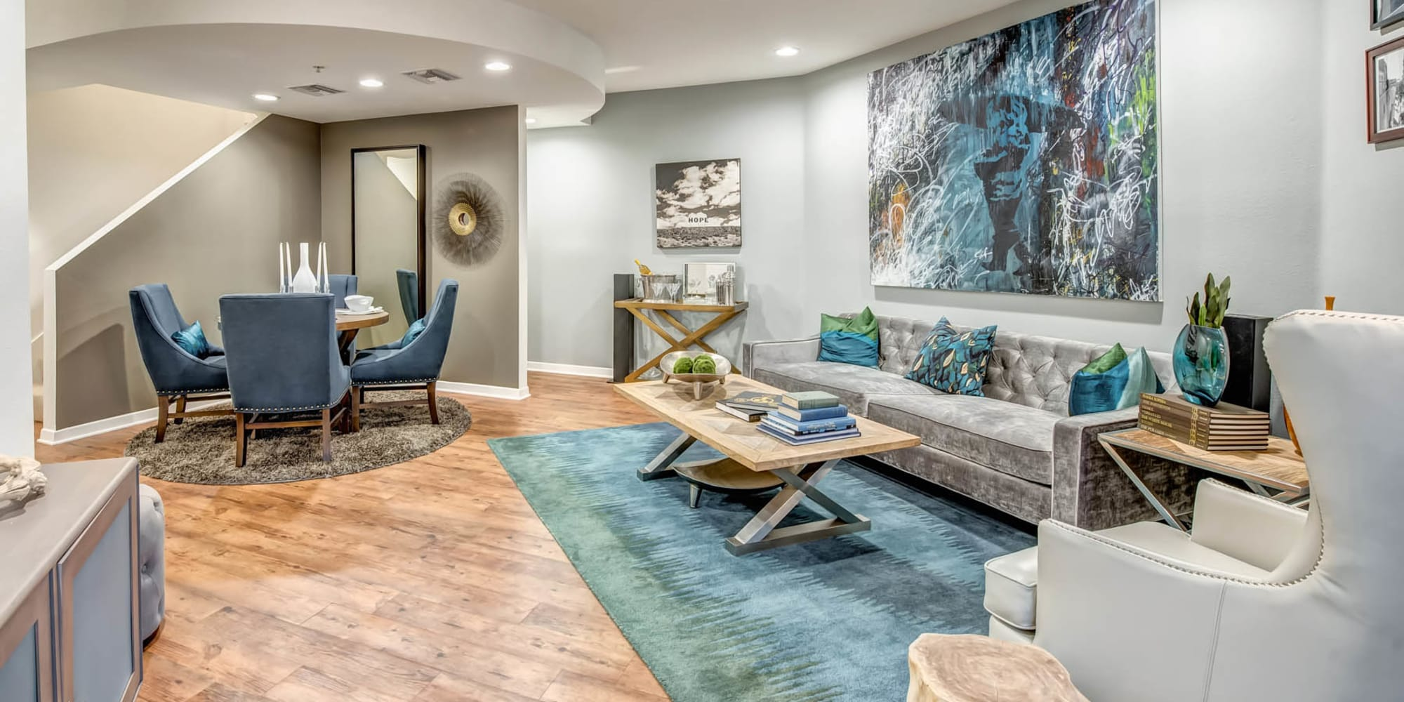 Model luxury townhome with hardwood flooring and exquisite furnishings at Esprit Marina del Rey in Marina Del Rey, California