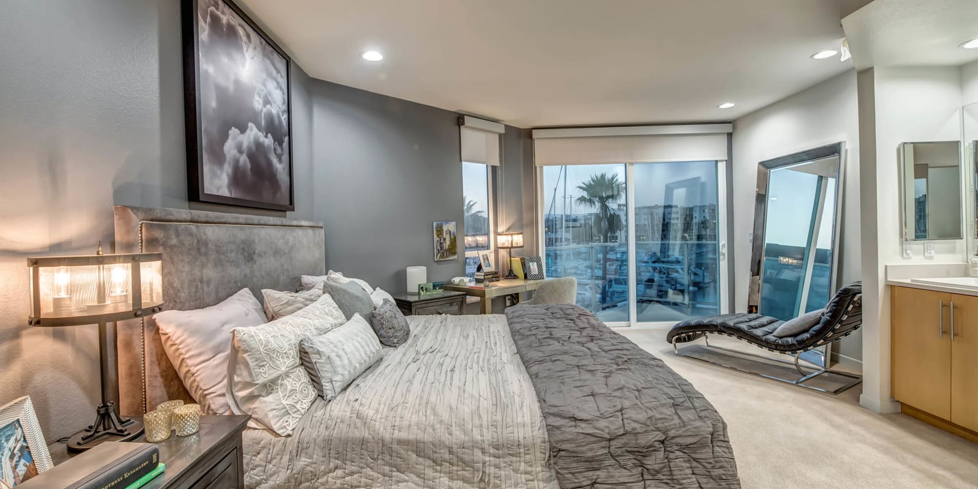 Beautiful ocean views from a model home's bedroom at Esprit Marina del Rey in Marina Del Rey, California