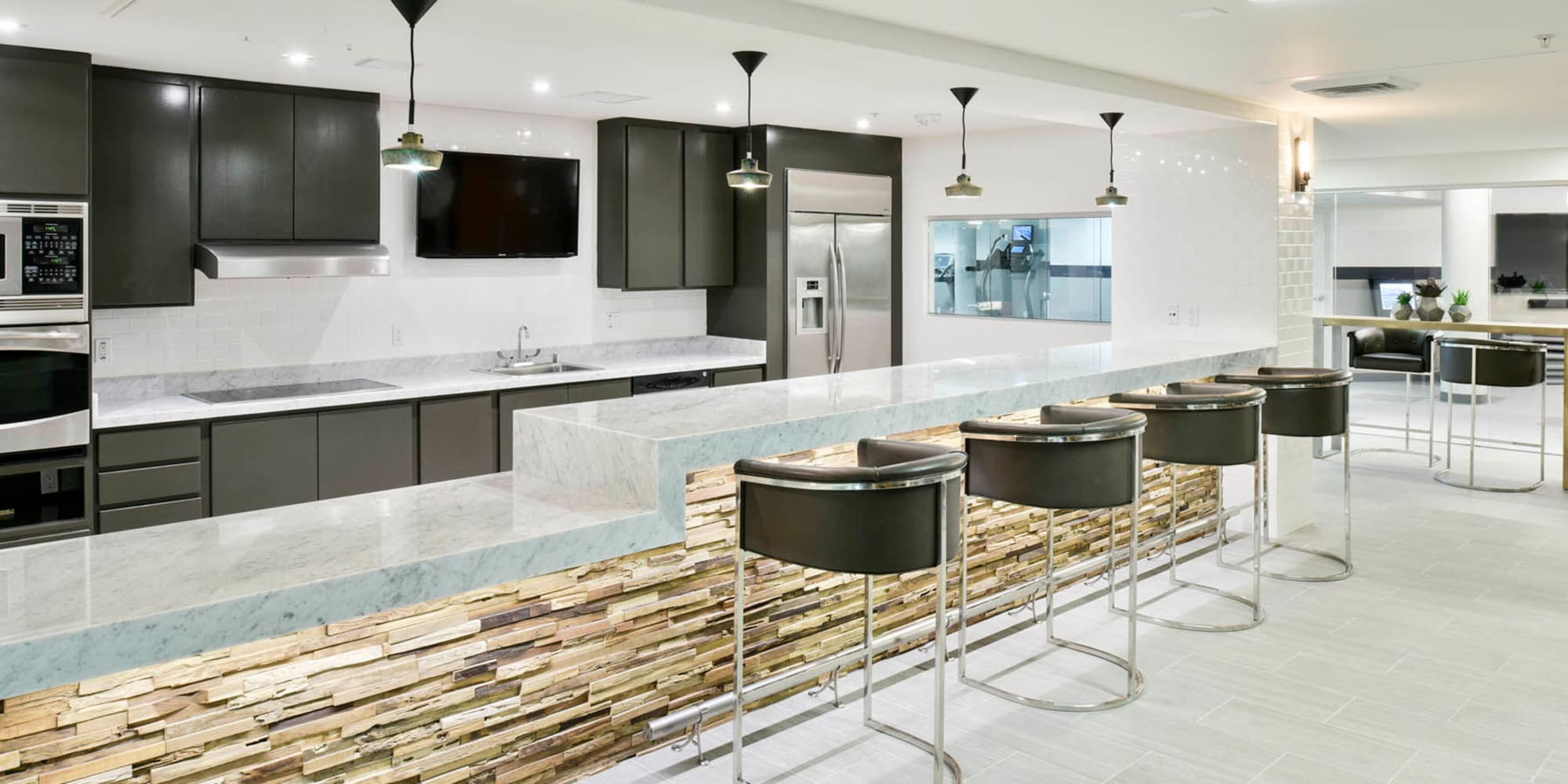 Resident clubhouse kitchen at Esprit Marina del Rey in Marina Del Rey, California