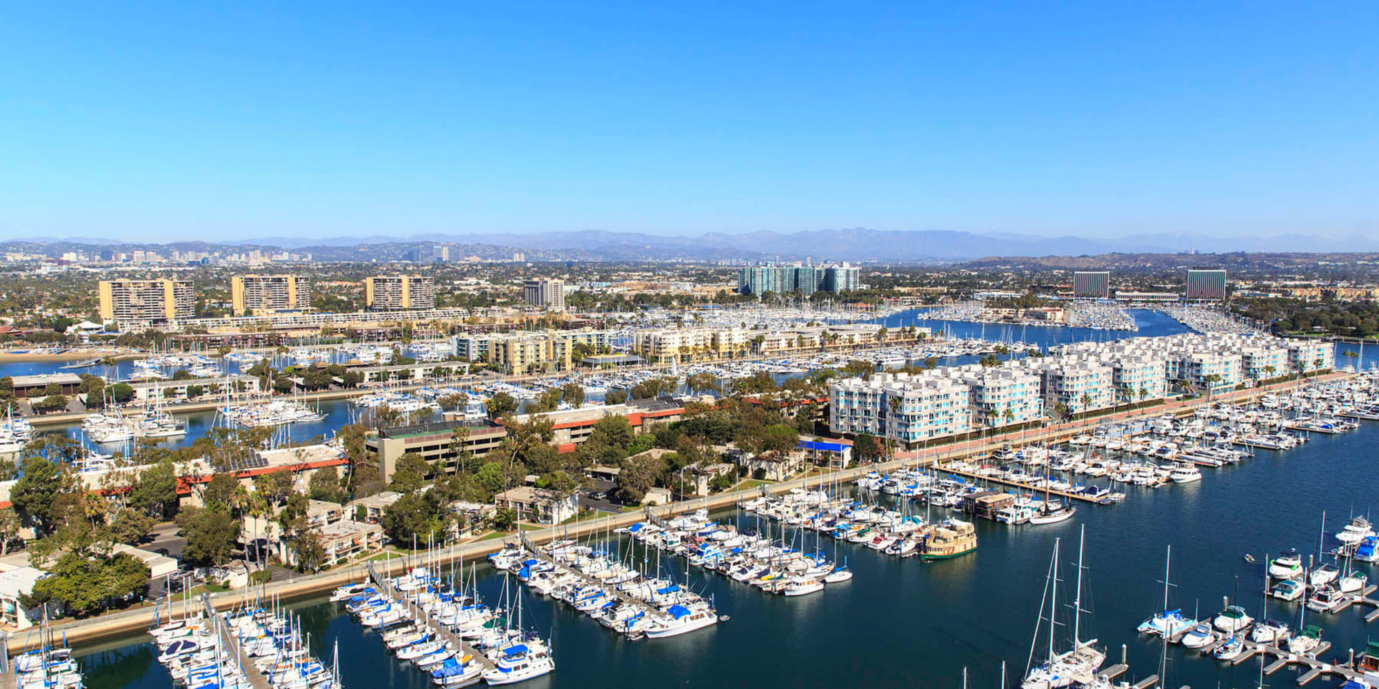 Aerial view of our luxury harborside community at Esprit Marina del Rey in Marina Del Rey, California