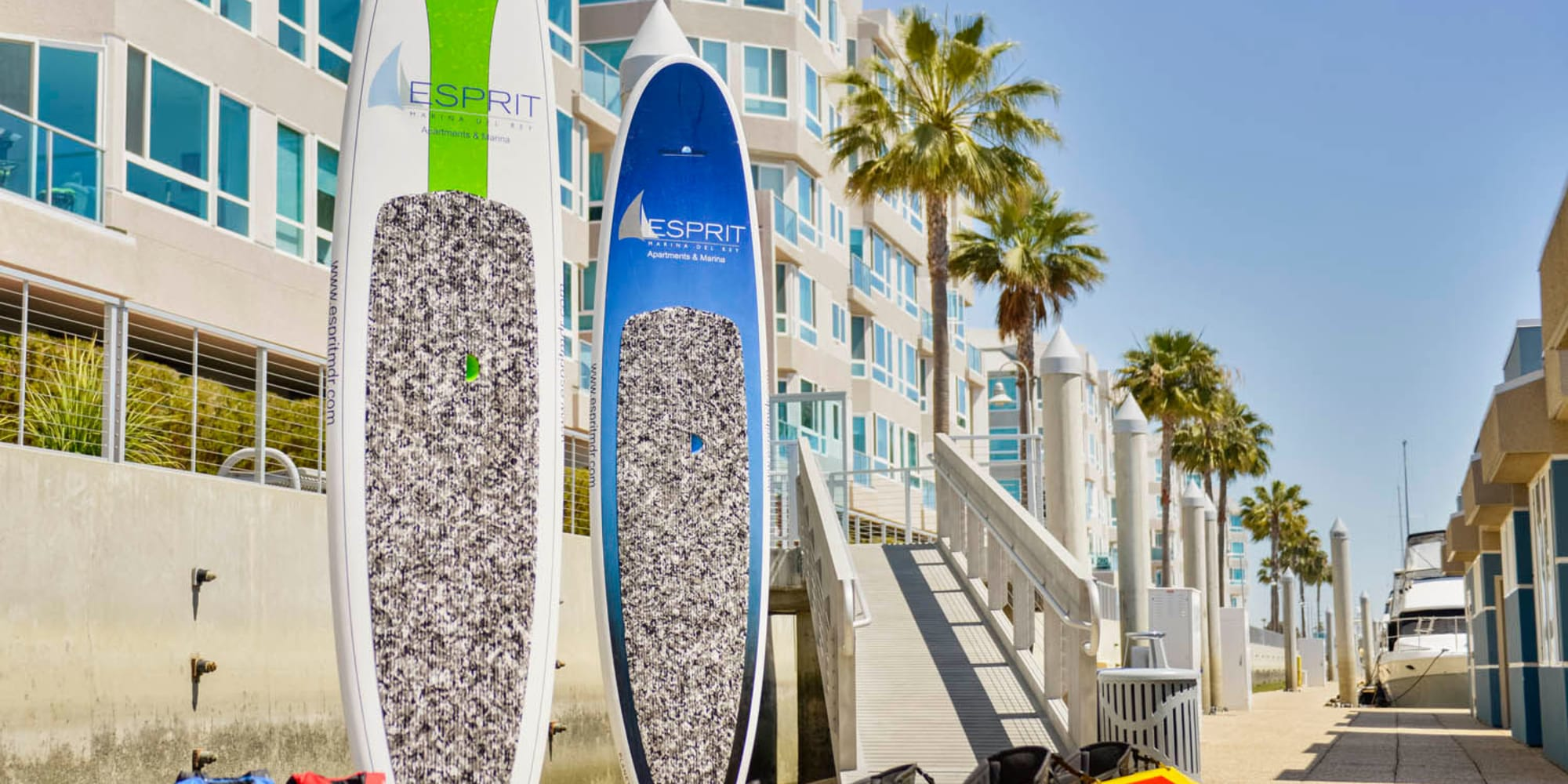Surfboards available for use at Esprit Marina del Rey in Marina Del Rey, California