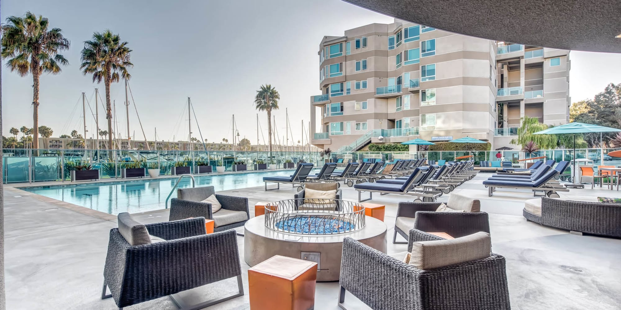 Lounge area near the pool at Esprit Marina del Rey in Marina Del Rey, California