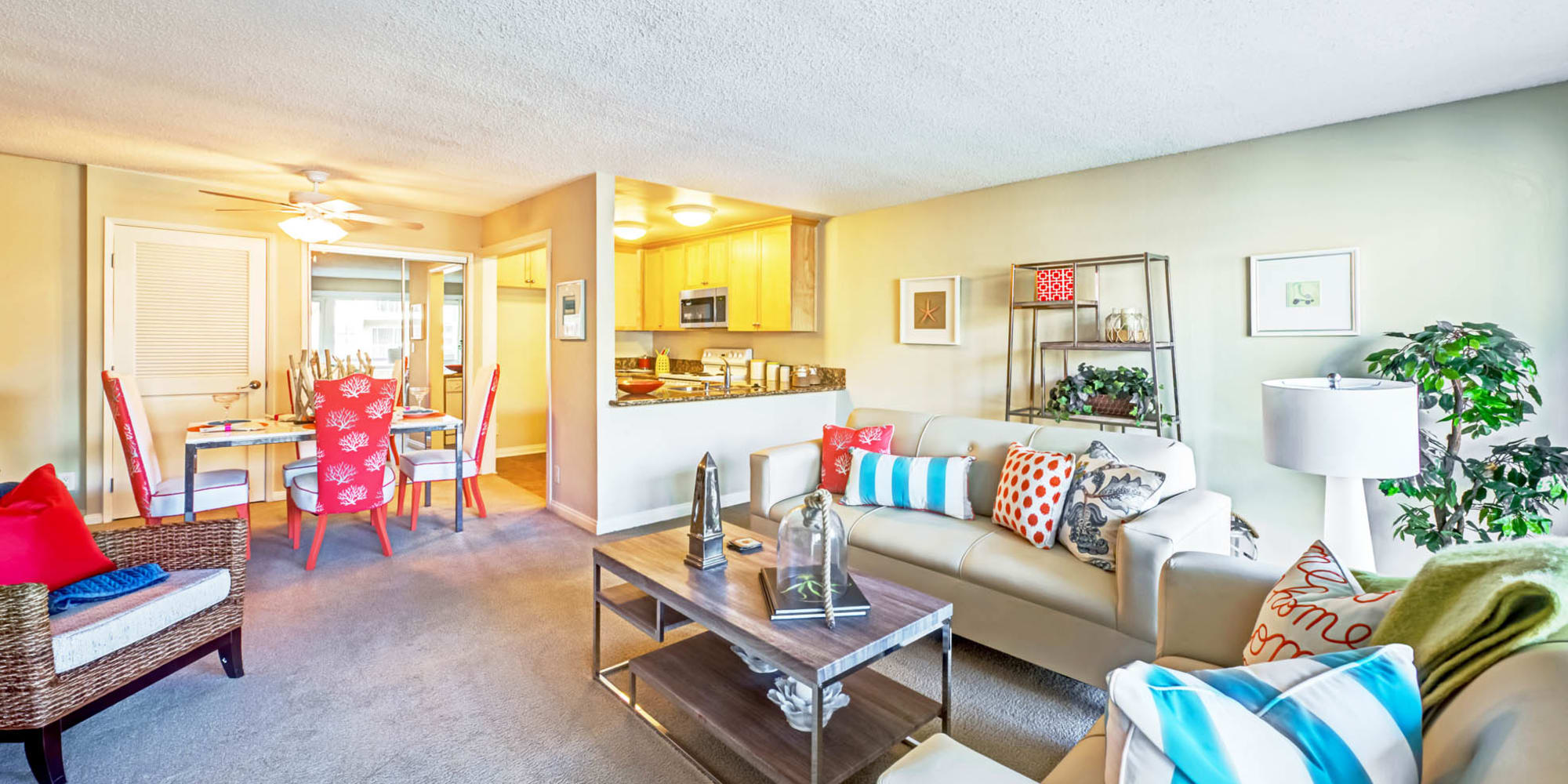 Well-furnished model home's living space at The Tides at Marina Harbor in Marina Del Rey, California