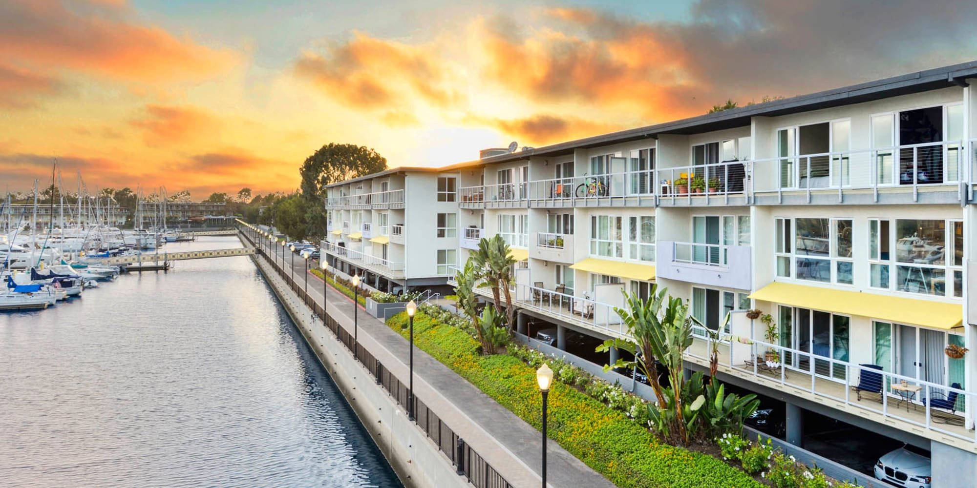Gorgeous sunset over our waterside luxury community at The Tides at Marina Harbor in Marina Del Rey, California