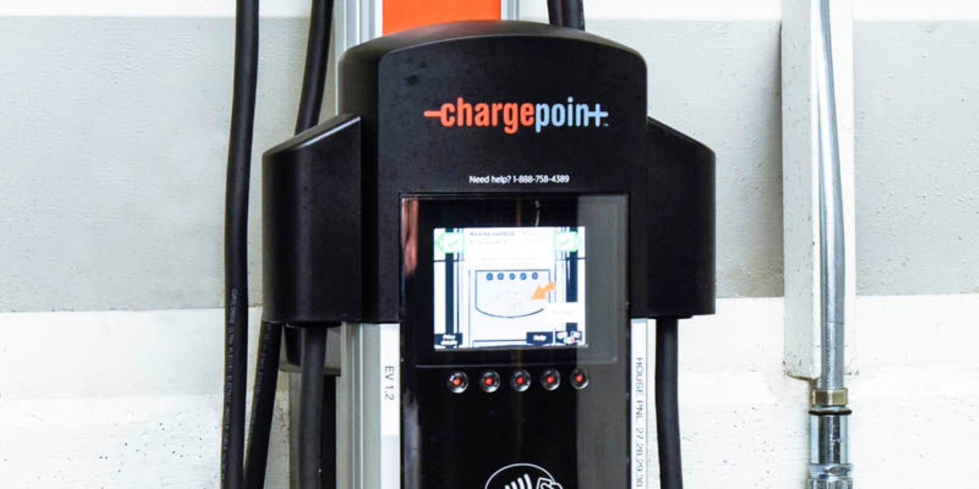 Electric vehicle charging stations at Waters Edge at Marina Harbor in Marina Del Rey, California