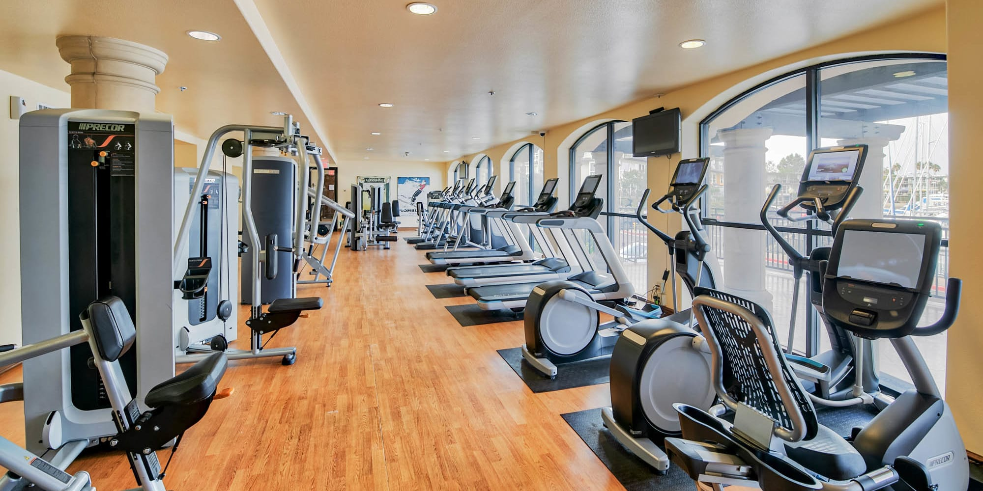 Very well-equipped onsite fitness center at Waters Edge at Marina Harbor in Marina Del Rey, California
