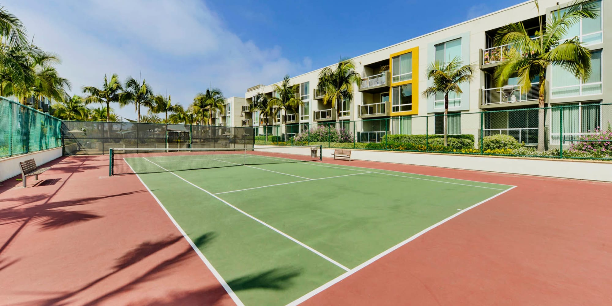 Well-maintained onsite tennis courts at Waters Edge at Marina Harbor in Marina Del Rey, California