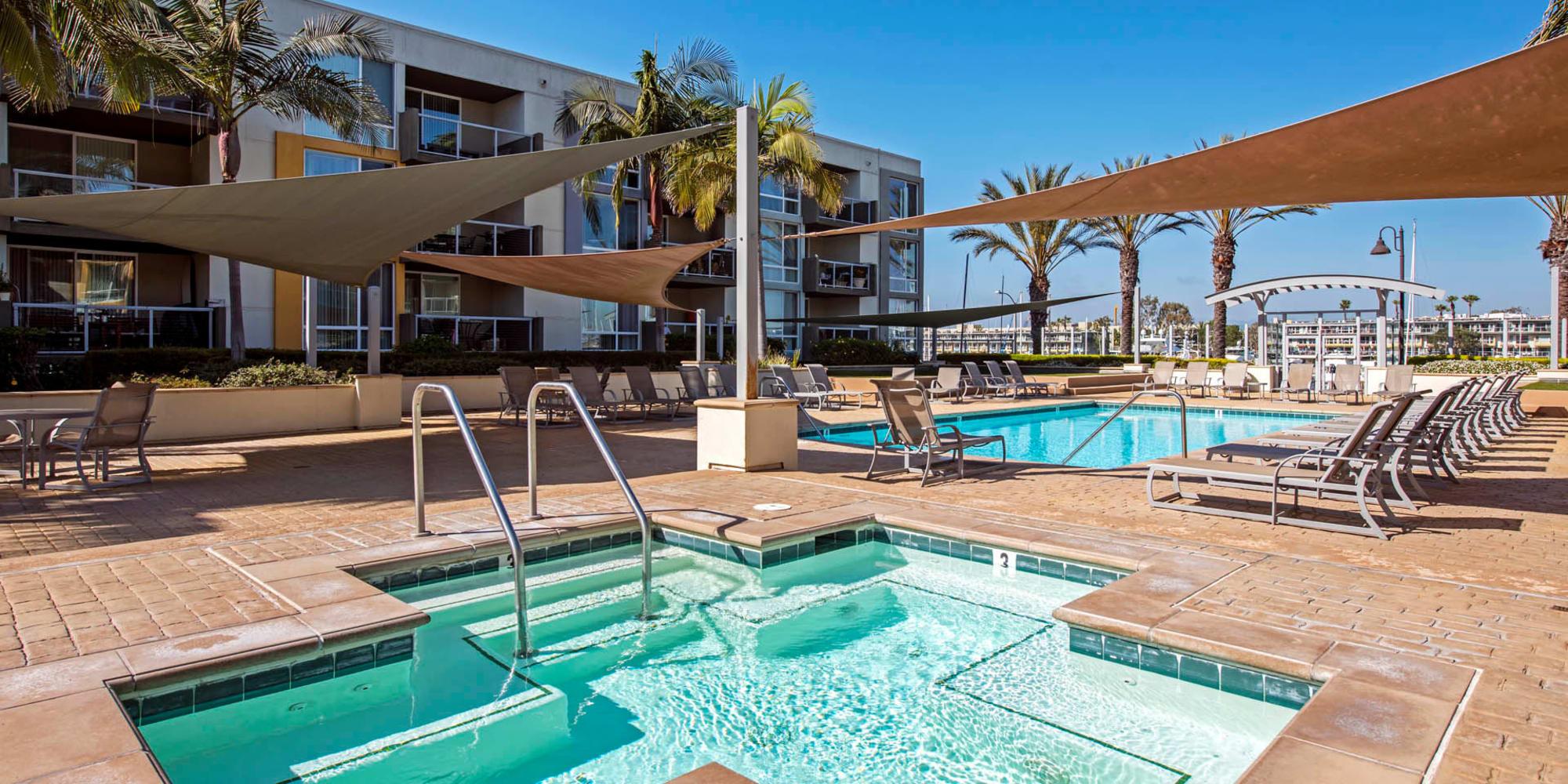 Spa area near the pool at Waters Edge at Marina Harbor in Marina Del Rey, California